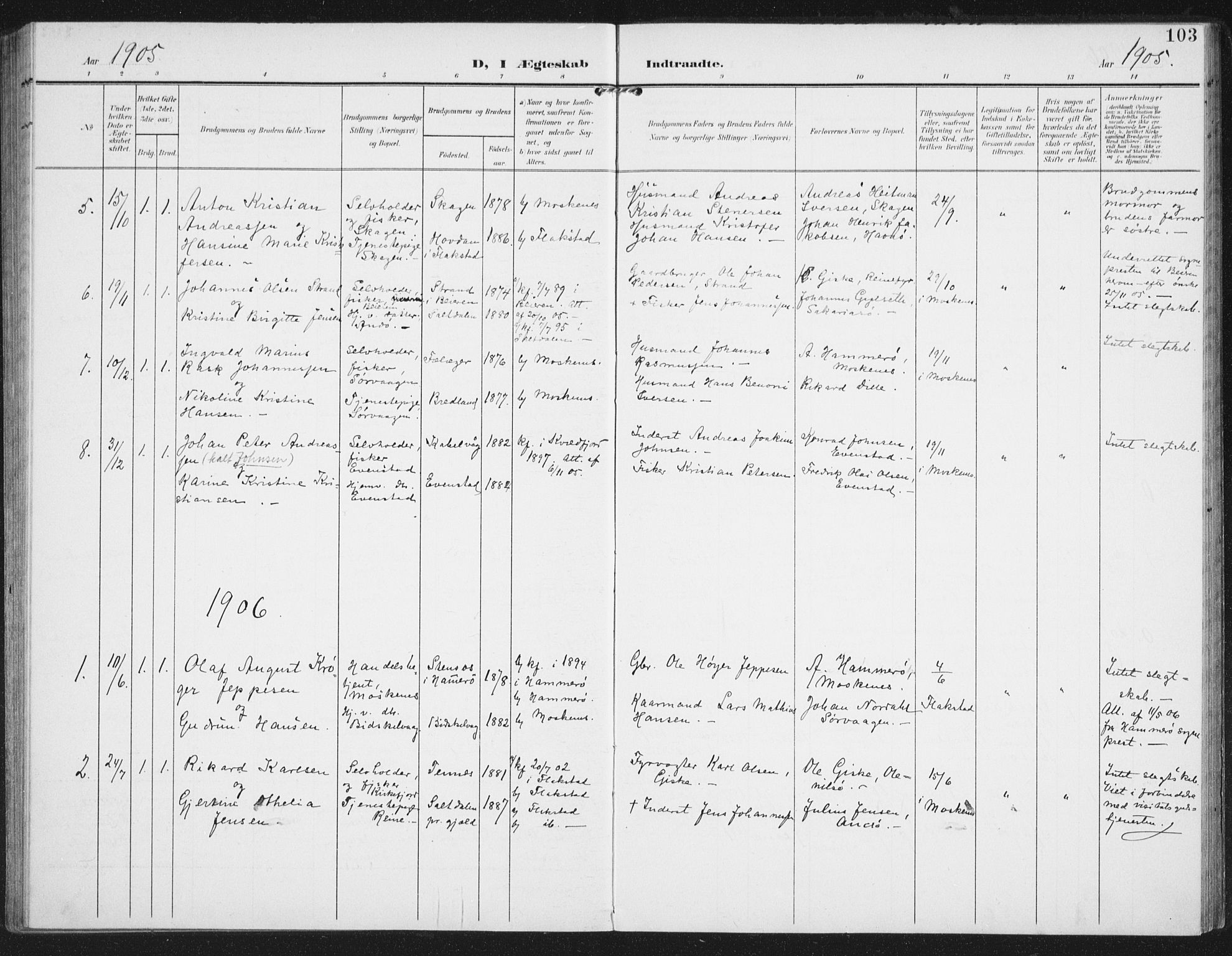 SAT, Ministerialprotokoller, klokkerbøker og fødselsregistre - Nordland, 886/L1221: Ministerialbok nr. 886A03, 1903-1913, s. 103