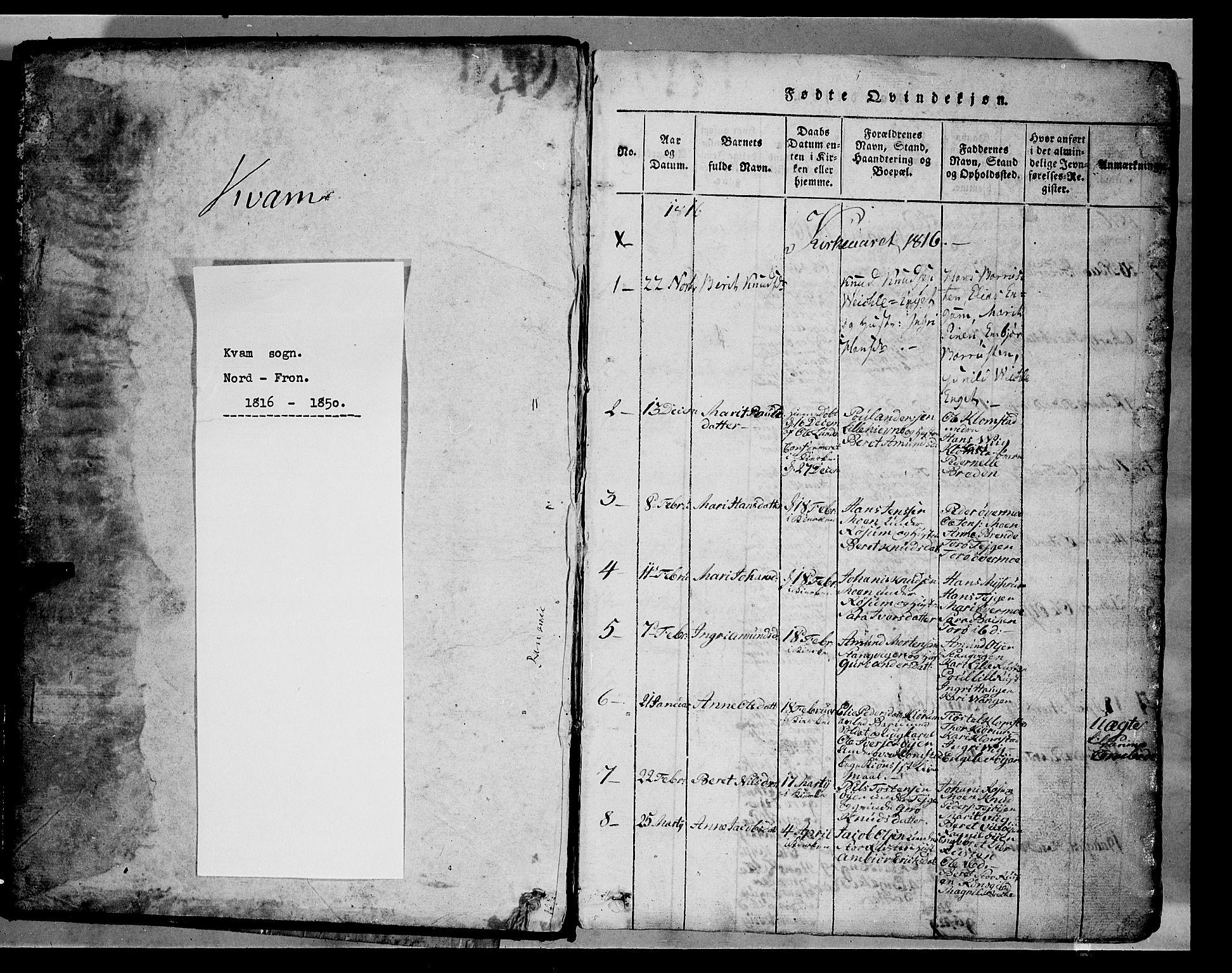 SAH, Fron prestekontor, H/Ha/Hab/L0002: Klokkerbok nr. 2, 1816-1850, s. 1