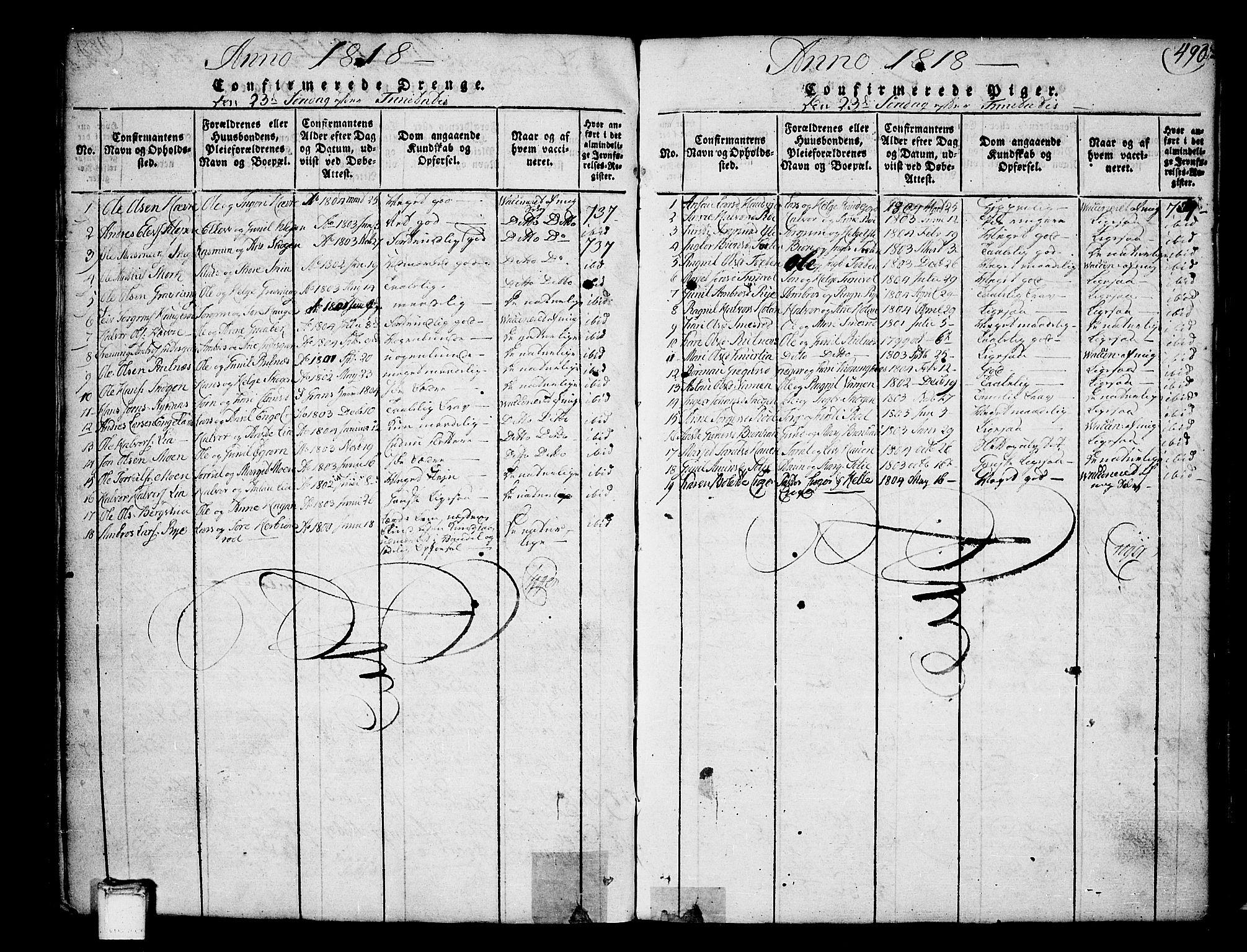 SAKO, Heddal kirkebøker, F/Fa/L0005: Ministerialbok nr. I 5, 1814-1837, s. 489-490