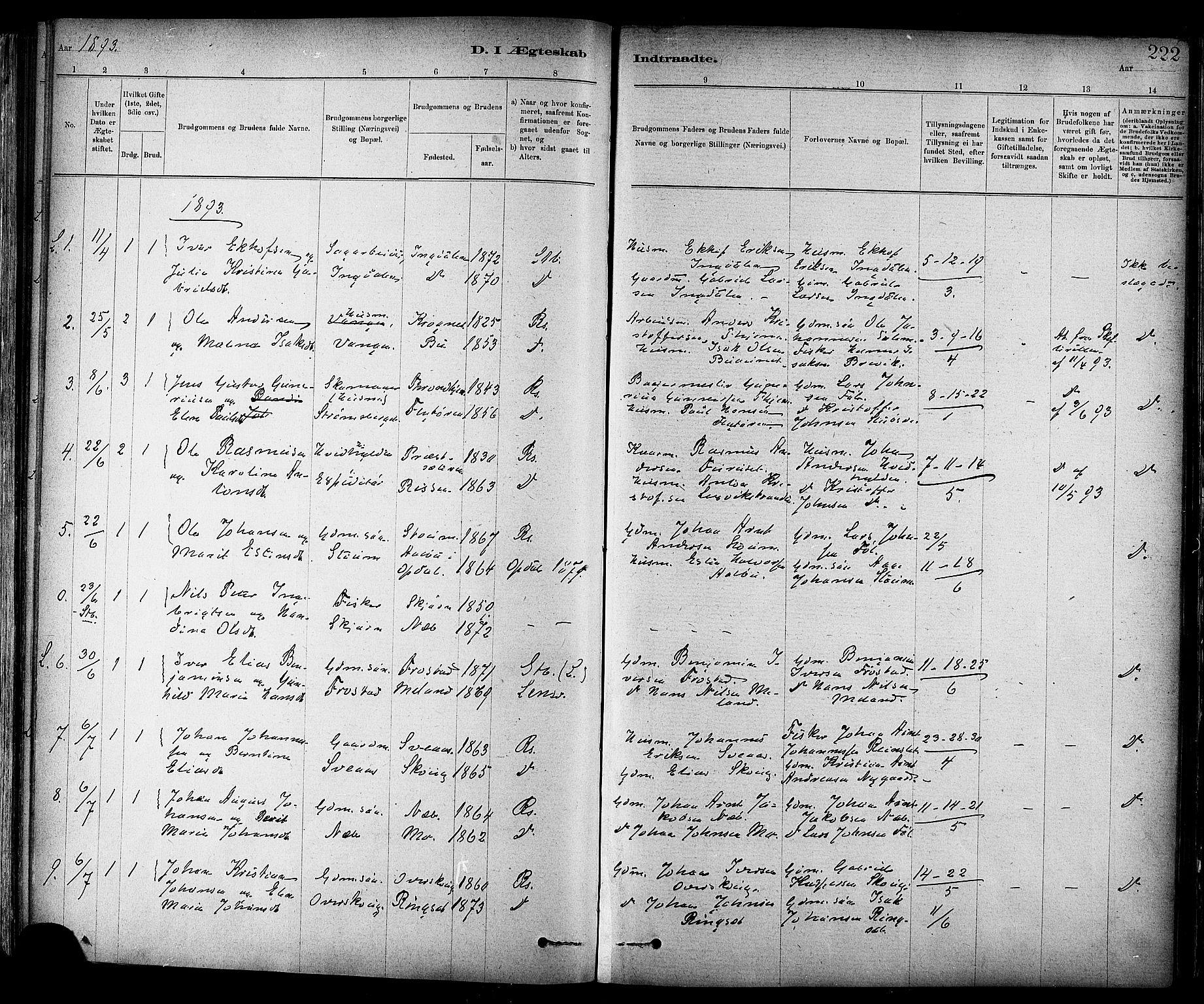 SAT, Ministerialprotokoller, klokkerbøker og fødselsregistre - Sør-Trøndelag, 647/L0634: Ministerialbok nr. 647A01, 1885-1896, s. 222