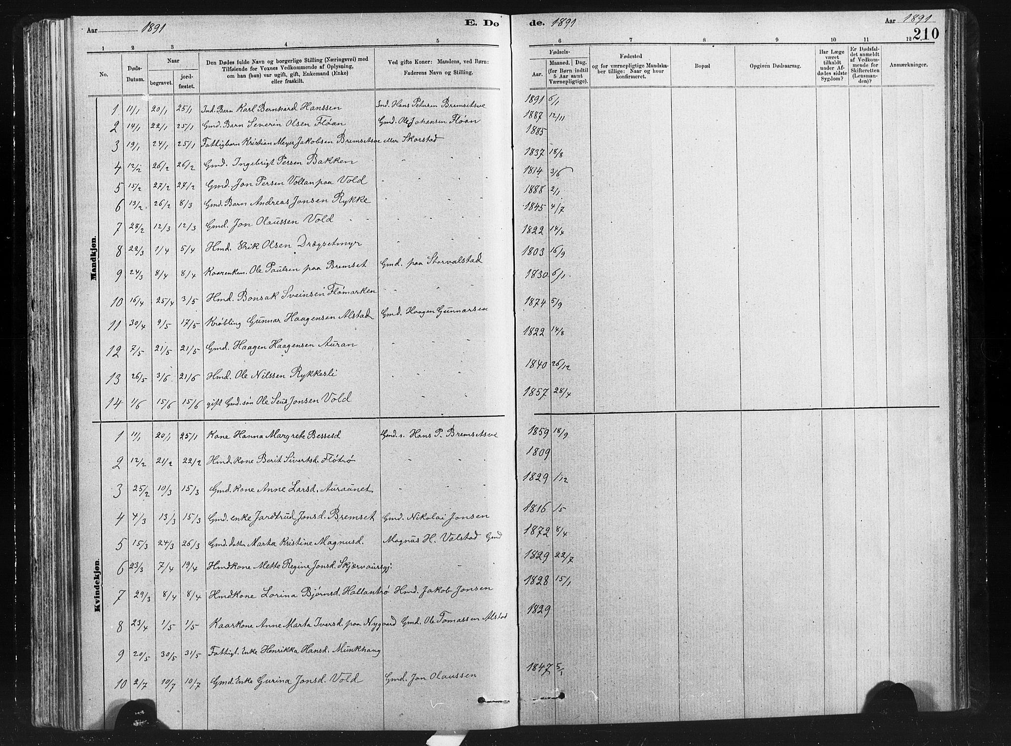 SAT, Ministerialprotokoller, klokkerbøker og fødselsregistre - Nord-Trøndelag, 712/L0103: Klokkerbok nr. 712C01, 1878-1917, s. 210