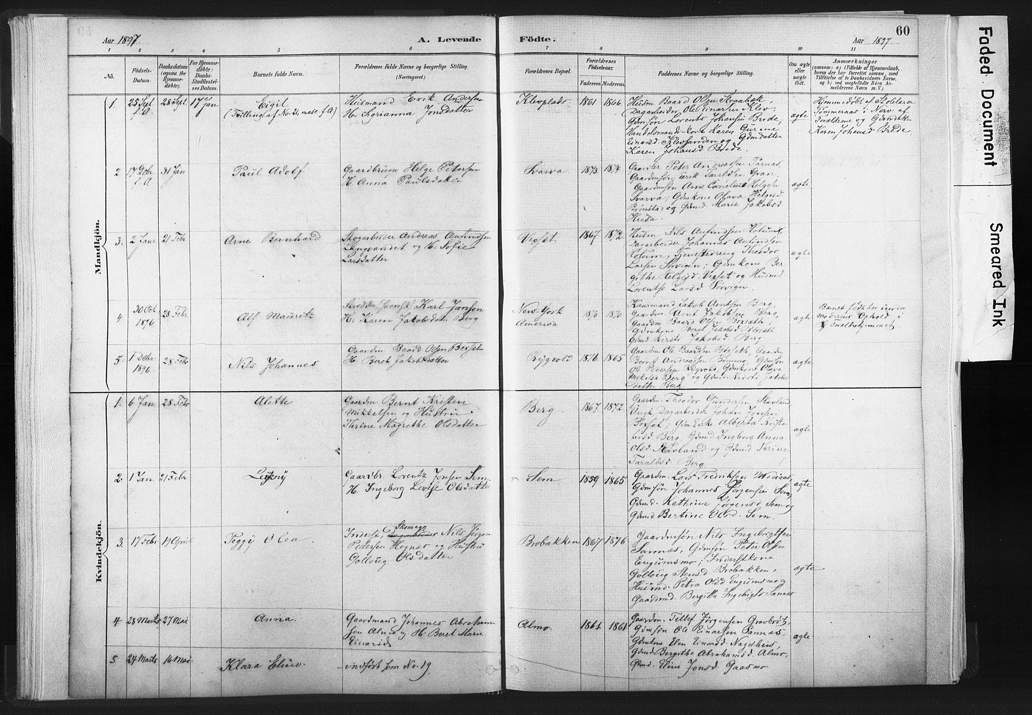 SAT, Ministerialprotokoller, klokkerbøker og fødselsregistre - Nord-Trøndelag, 749/L0474: Ministerialbok nr. 749A08, 1887-1903, s. 60