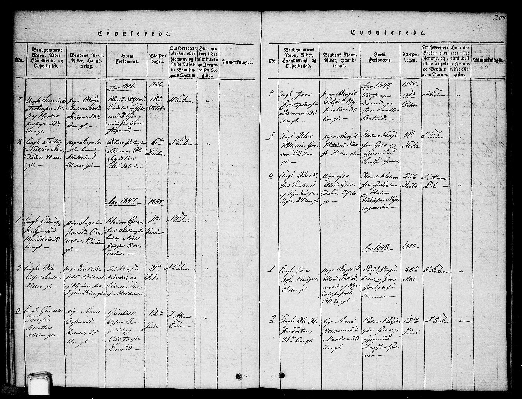 SAKO, Gransherad kirkebøker, G/Gb/L0001: Klokkerbok nr. II 1, 1815-1860, s. 207