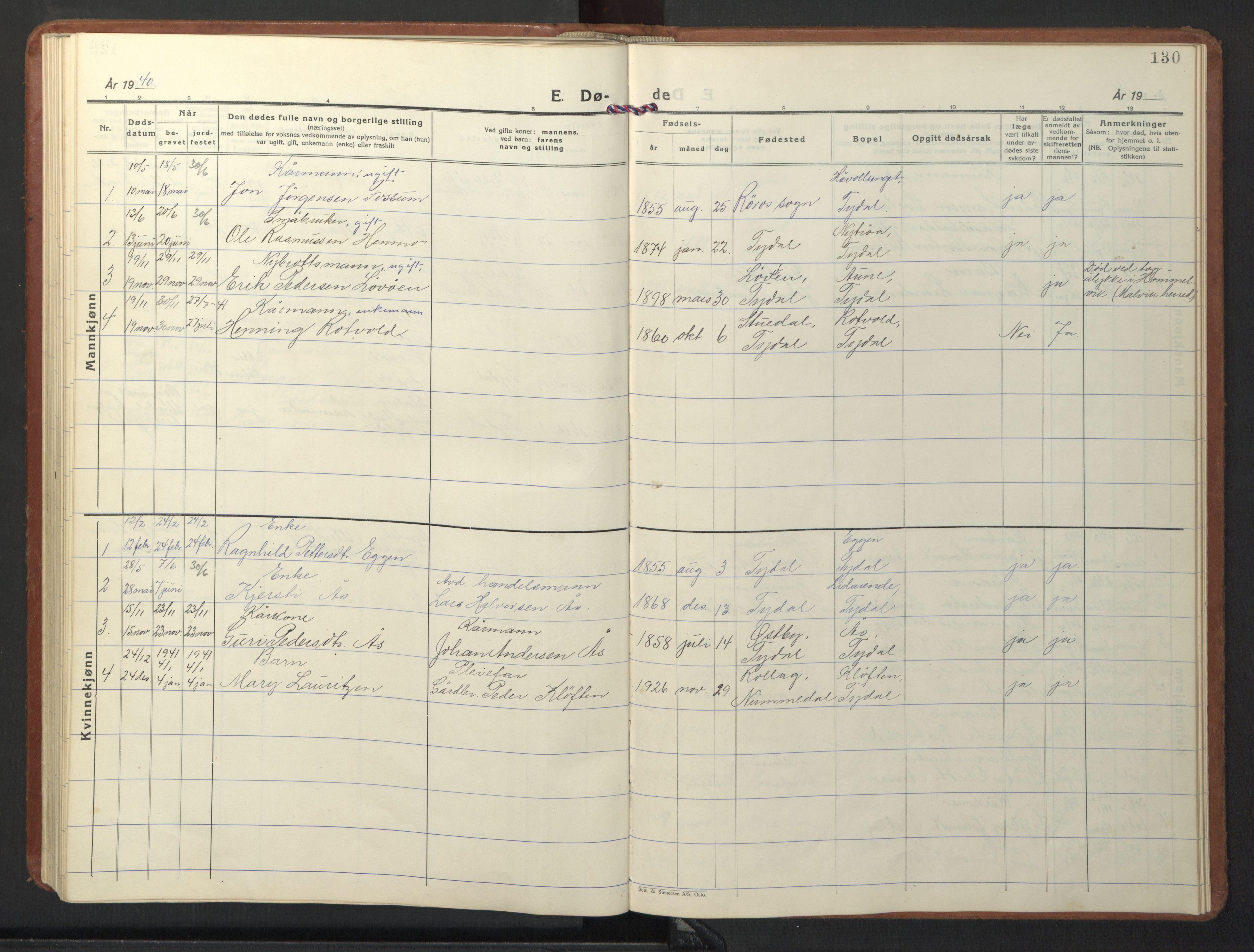 SAT, Ministerialprotokoller, klokkerbøker og fødselsregistre - Sør-Trøndelag, 698/L1169: Klokkerbok nr. 698C06, 1930-1949, s. 130