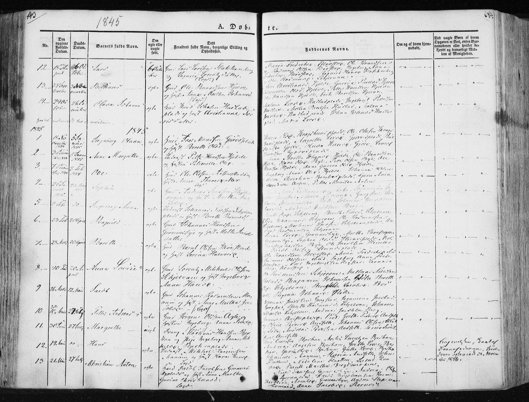 SAT, Ministerialprotokoller, klokkerbøker og fødselsregistre - Nord-Trøndelag, 730/L0280: Ministerialbok nr. 730A07 /3, 1840-1854, s. 143