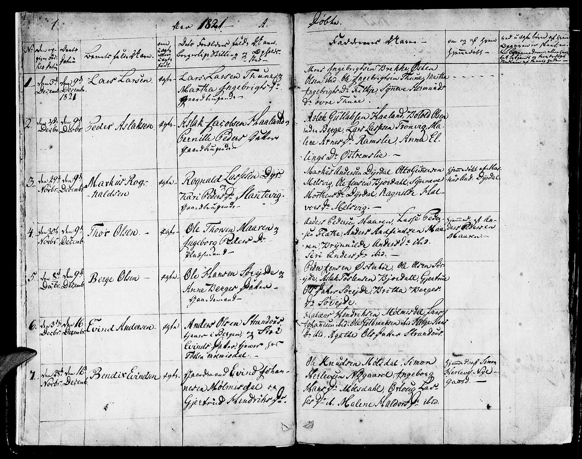 SAB, Lavik sokneprestembete, Ministerialbok nr. A 2I, 1821-1842, s. 1
