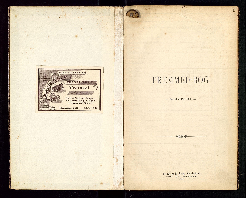 "SAST, Hjelmeland lensmannskontor, Fe/L0001: ""Fremmedbog"", 1911-1947, s. 1"