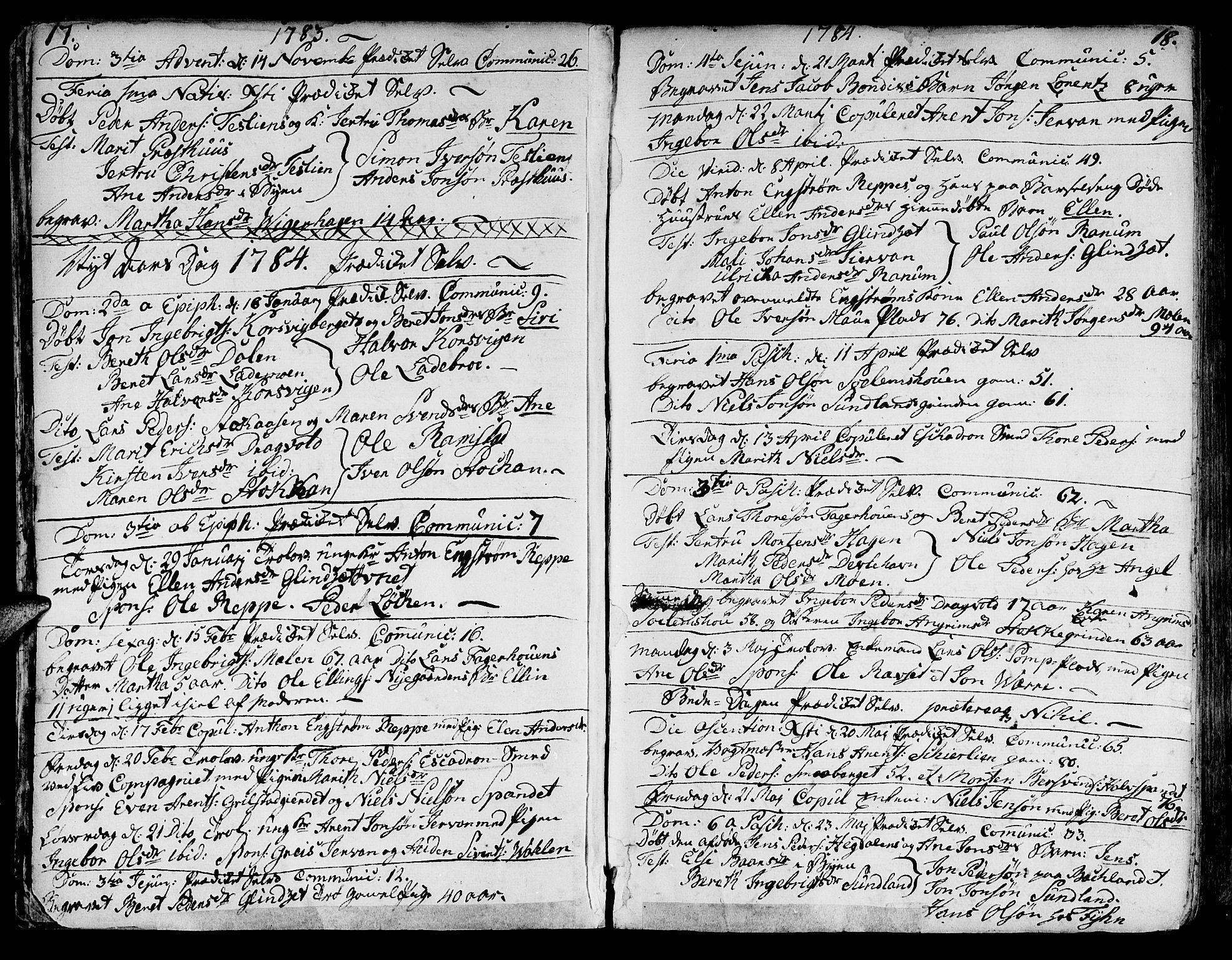 SAT, Ministerialprotokoller, klokkerbøker og fødselsregistre - Sør-Trøndelag, 606/L0280: Ministerialbok nr. 606A02 /1, 1781-1817, s. 17-18