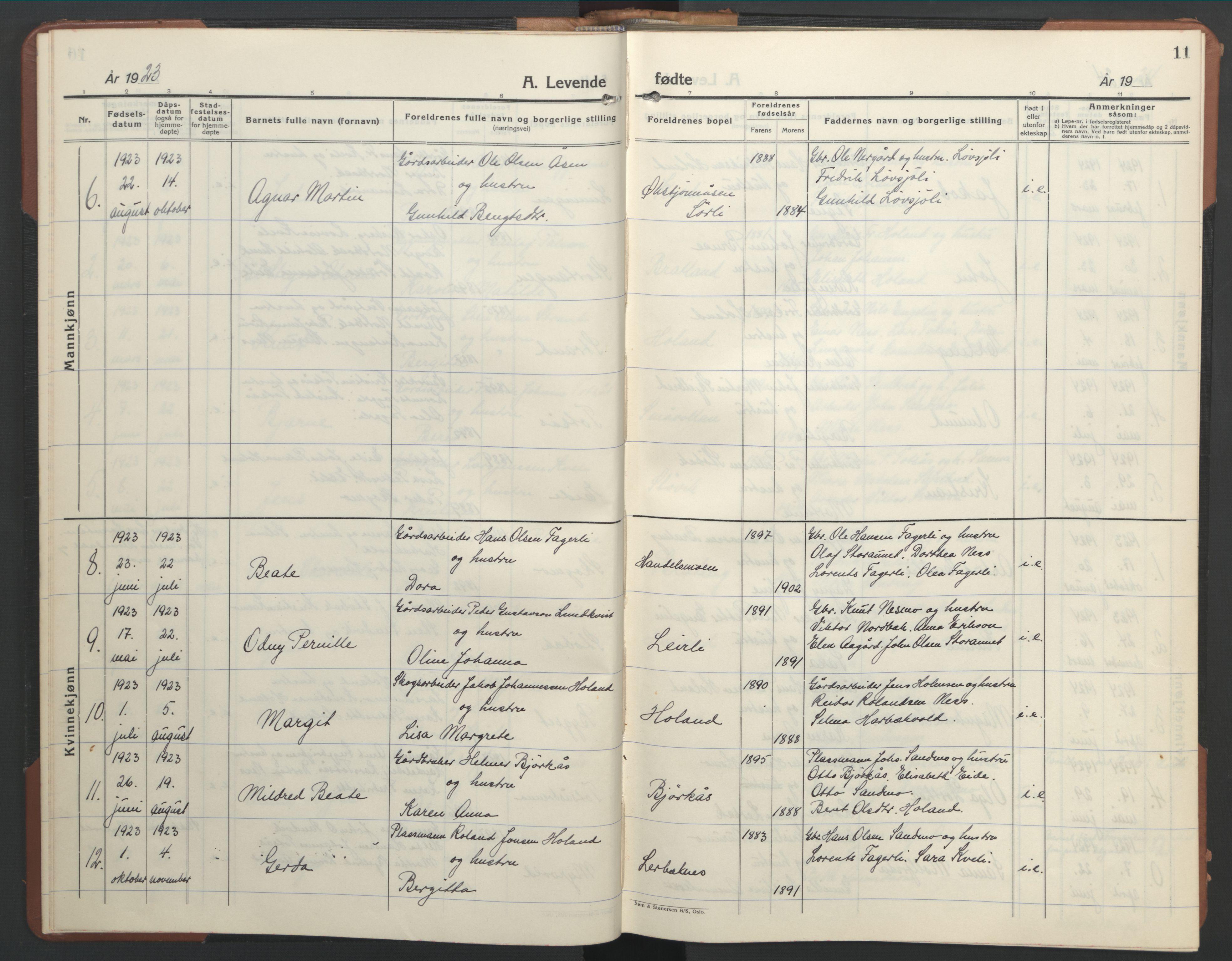 SAT, Ministerialprotokoller, klokkerbøker og fødselsregistre - Nord-Trøndelag, 755/L0500: Klokkerbok nr. 755C01, 1920-1962, s. 11