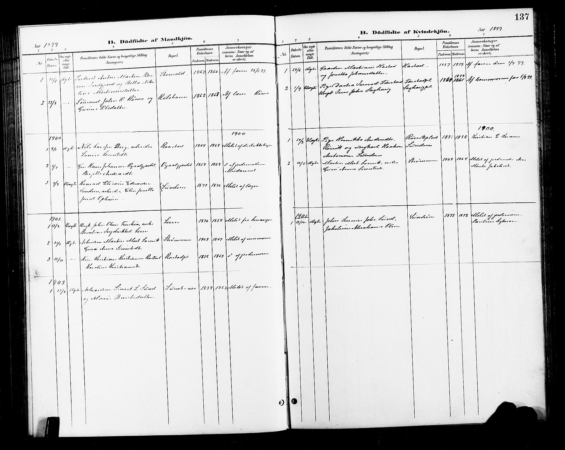 SAT, Ministerialprotokoller, klokkerbøker og fødselsregistre - Nord-Trøndelag, 730/L0302: Klokkerbok nr. 730C05, 1898-1924, s. 137