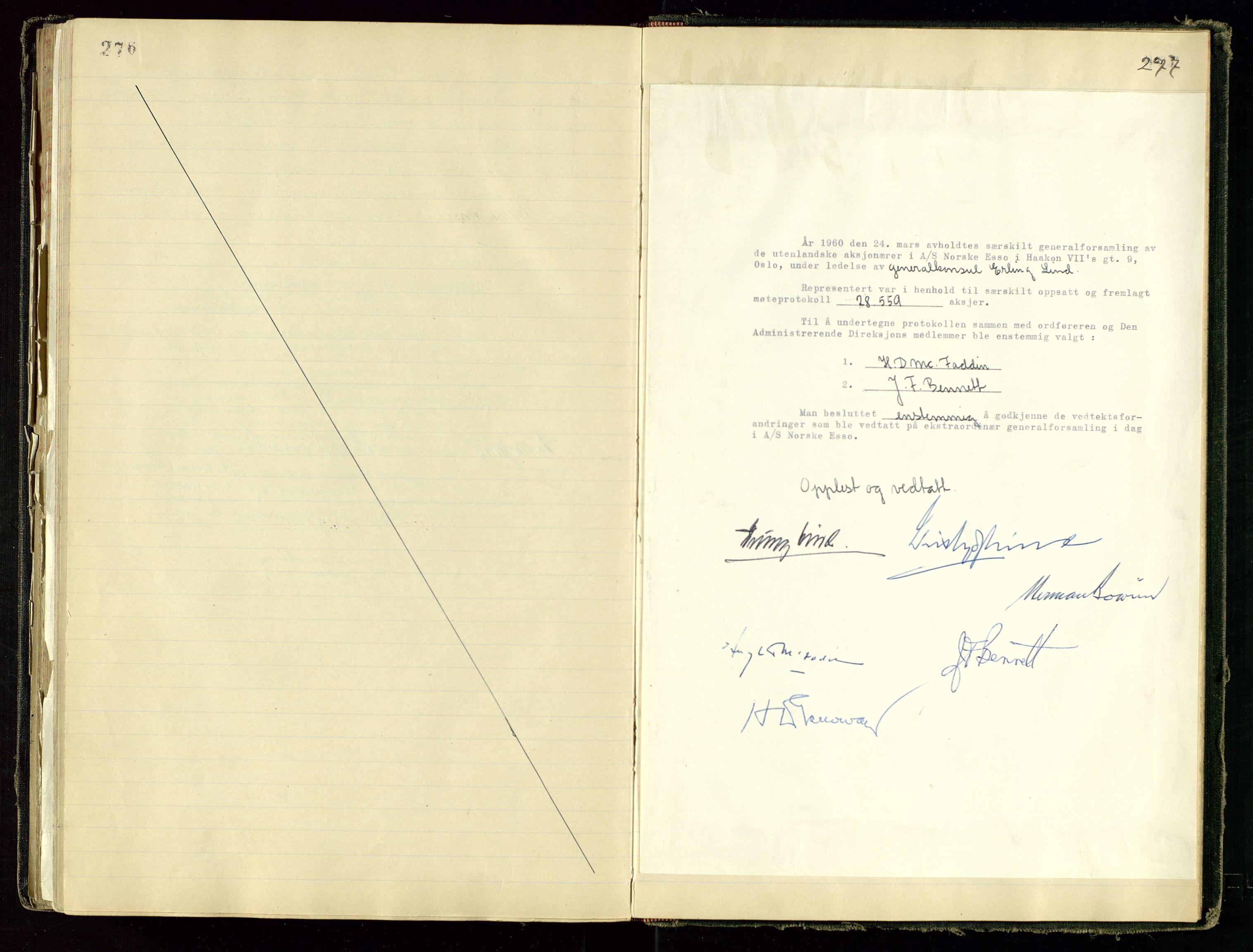 SAST, PA 1534 - Østlandske Petroleumscompagni A/S, A/Aa/L0001: Generalforsamlinger og direksjonsprotokoller., 1892-1960, s. 276-277
