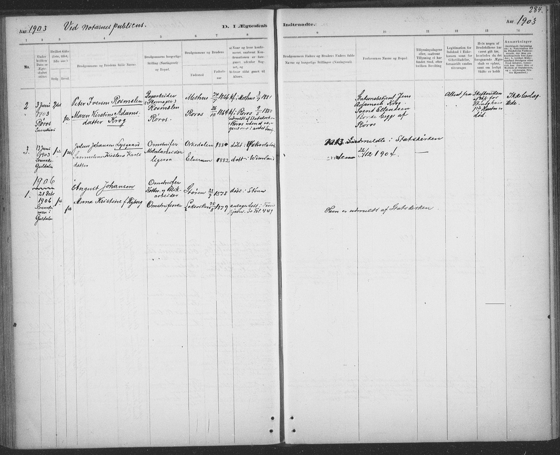 SAT, Ministerialprotokoller, klokkerbøker og fødselsregistre - Sør-Trøndelag, 691/L1085: Ministerialbok nr. 691A17, 1887-1908, s. 284