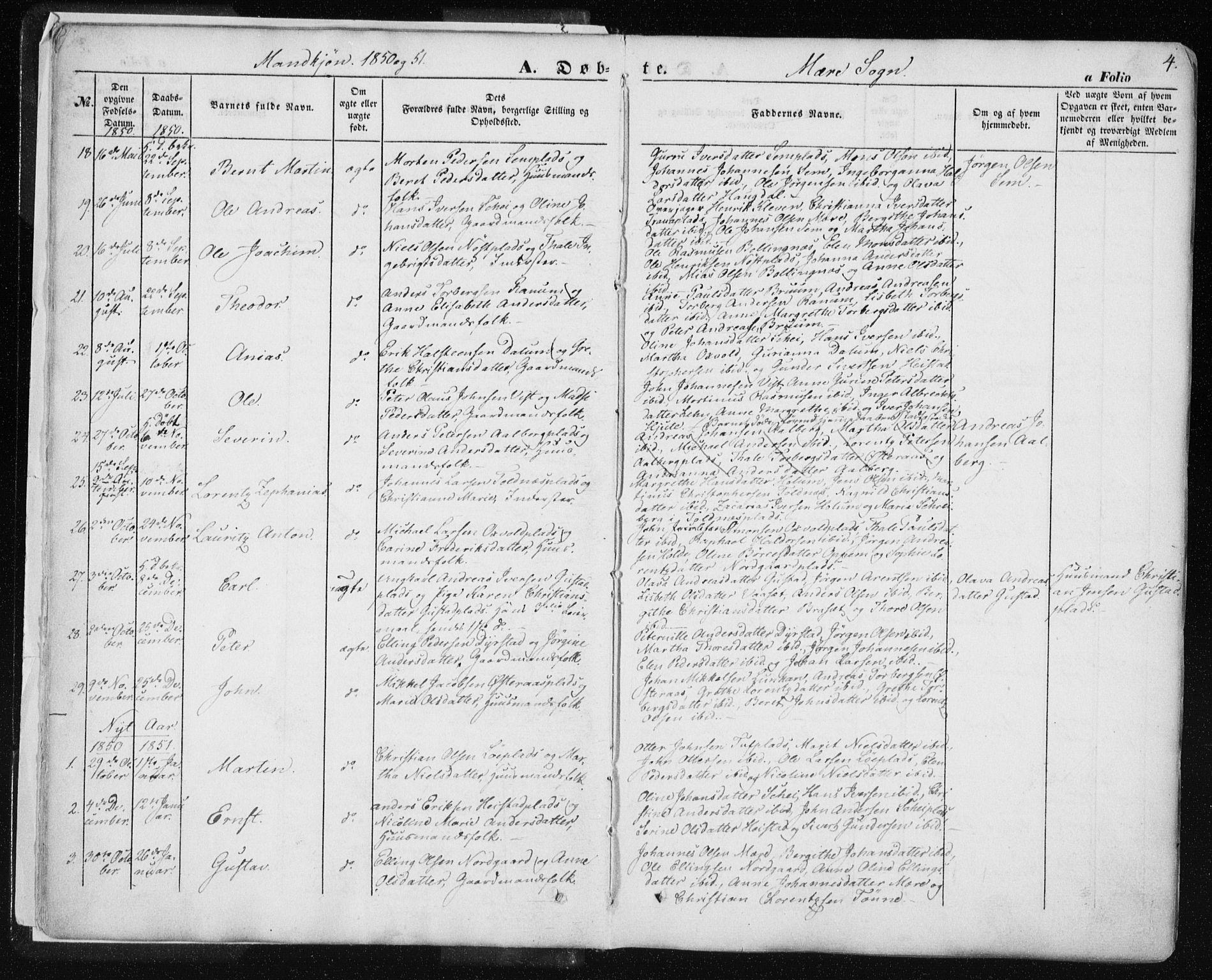 SAT, Ministerialprotokoller, klokkerbøker og fødselsregistre - Nord-Trøndelag, 735/L0342: Ministerialbok nr. 735A07 /1, 1849-1862, s. 4