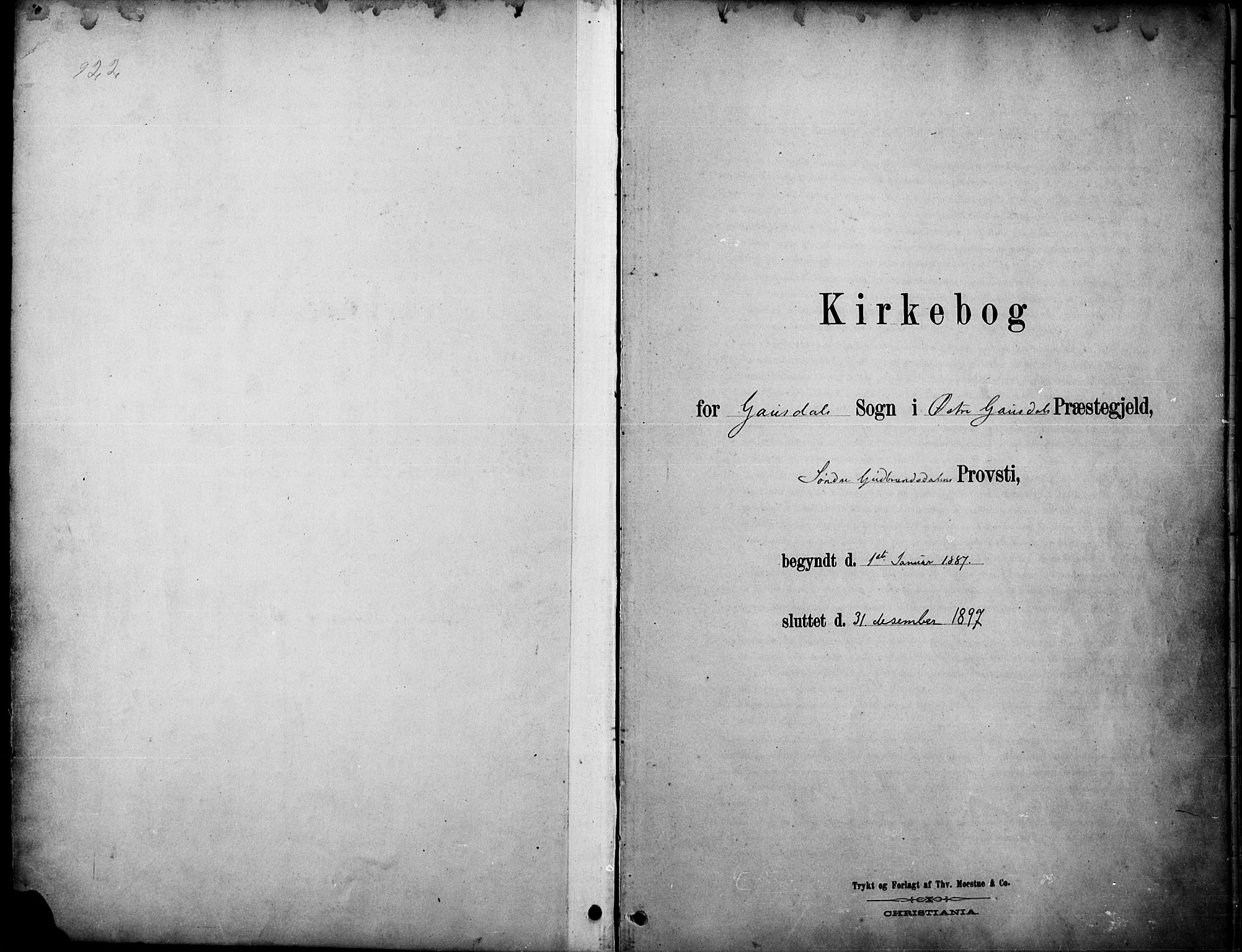 SAH, Østre Gausdal prestekontor, Ministerialbok nr. 2, 1887-1897