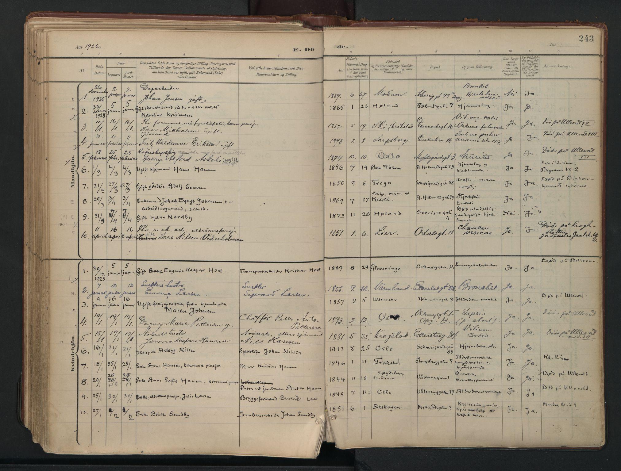 SAO, Vålerengen prestekontor Kirkebøker, F/Fa/L0003: Ministerialbok nr. 3, 1899-1930, s. 243