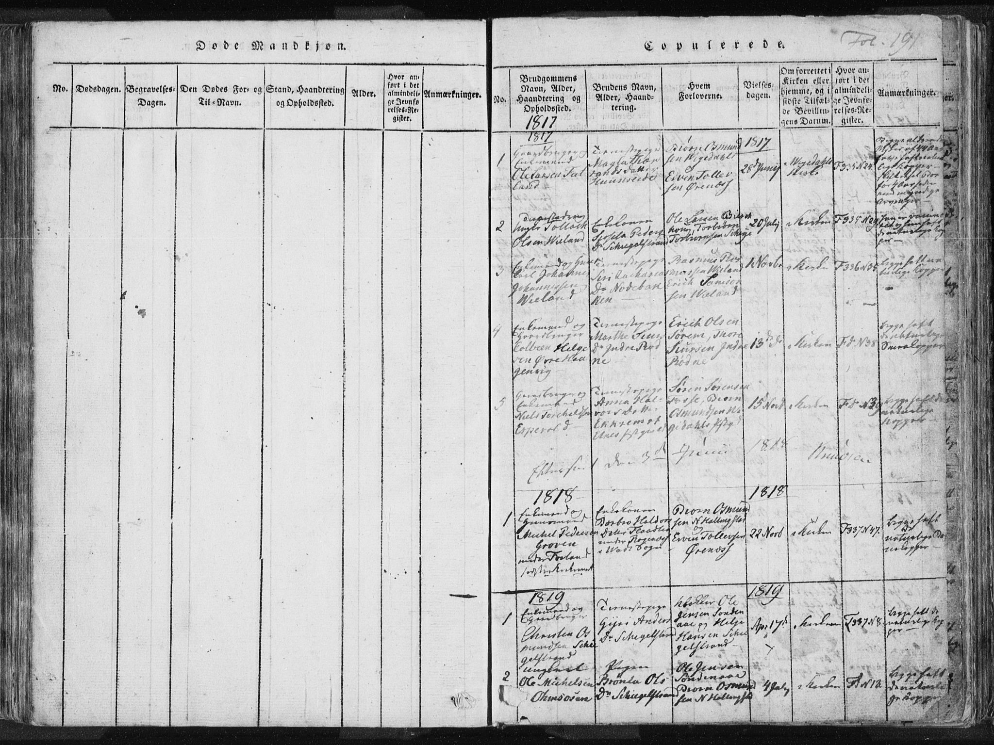 SAST, Vikedal sokneprestkontor, IV: Ministerialbok nr. A 3, 1817-1850, s. 191
