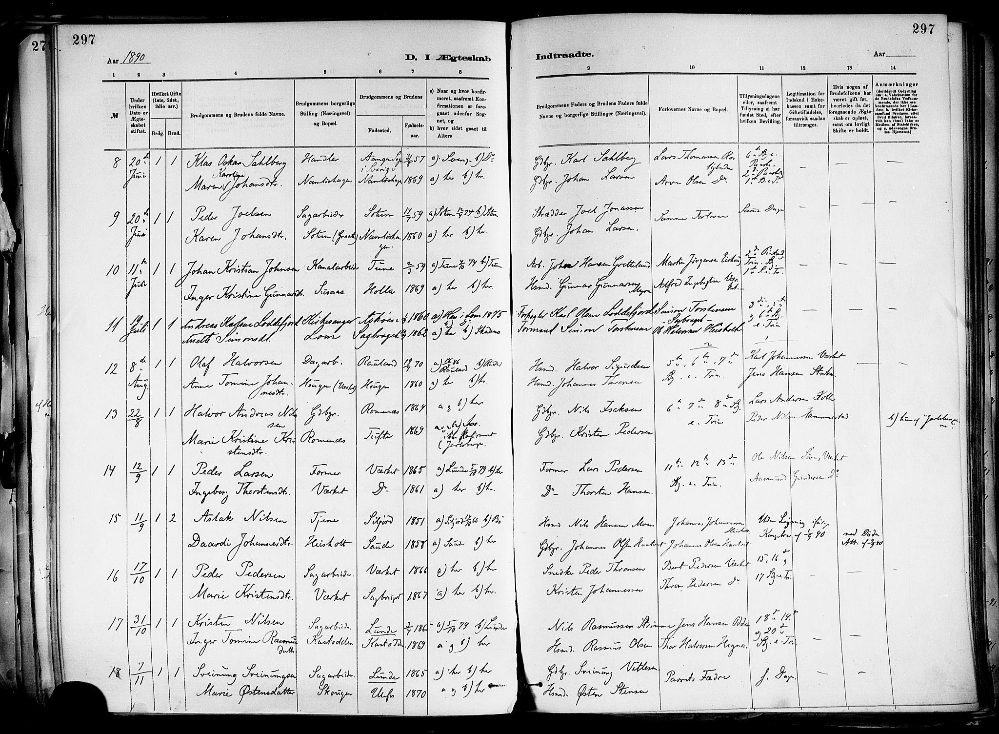 SAKO, Holla kirkebøker, F/Fa/L0008: Ministerialbok nr. 8, 1882-1897, s. 297