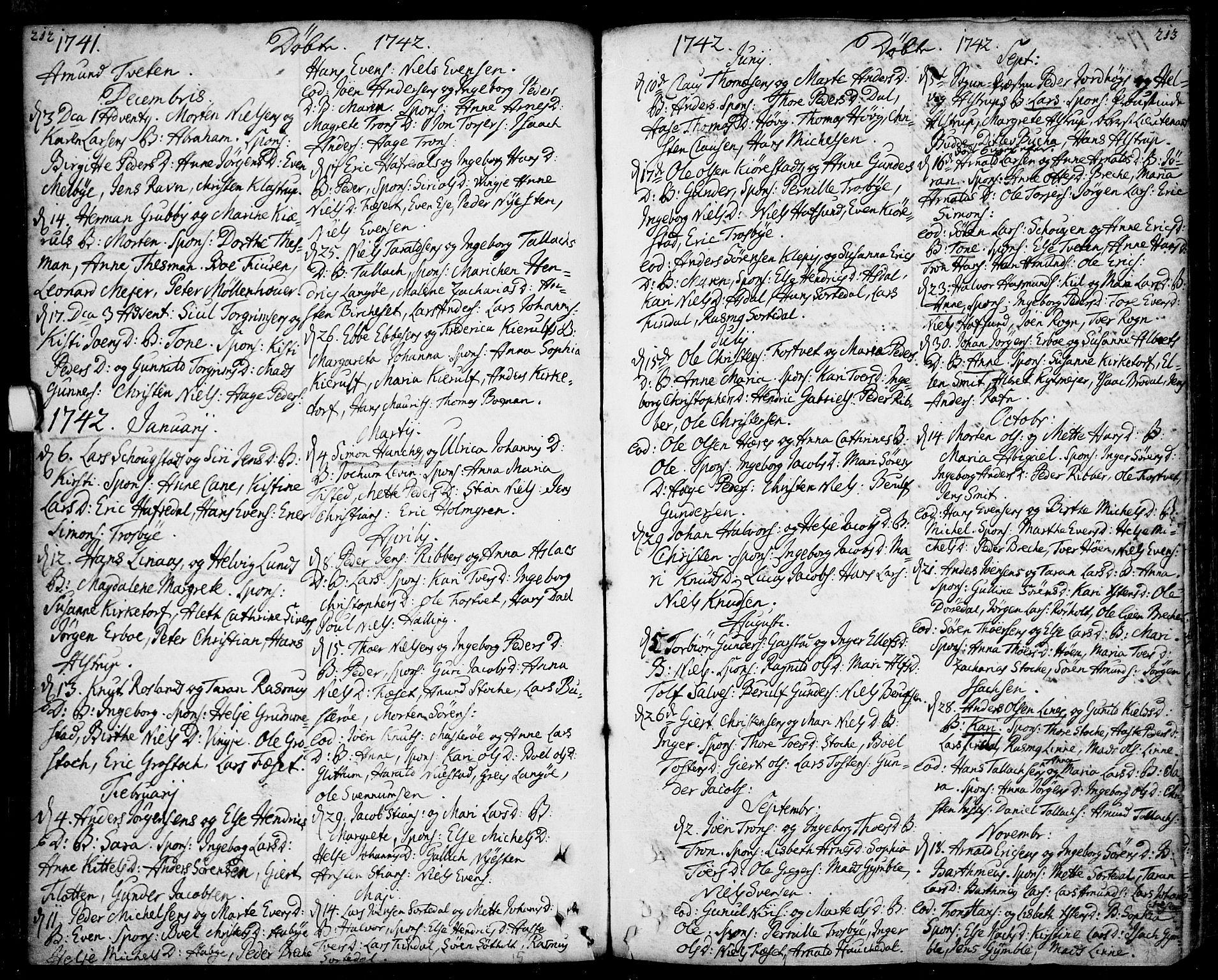 SAKO, Bamble kirkebøker, F/Fa/L0001: Ministerialbok nr. I 1, 1702-1774, s. 212-213