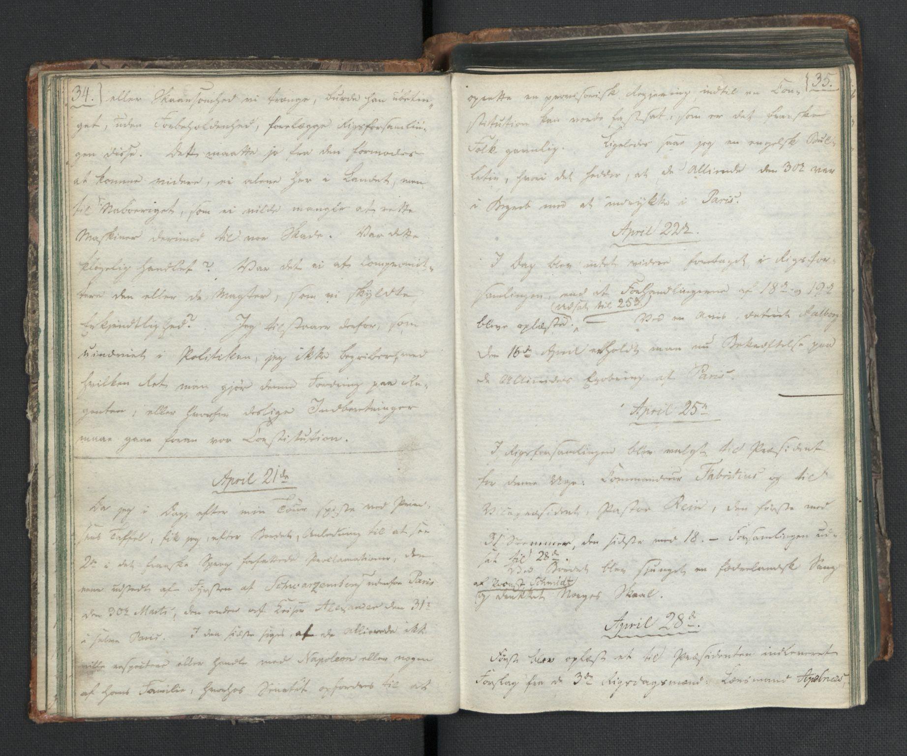 RA, Manuskriptsamlingen, H/L0021: Byfogd Gregers Winther Wulfbergs dagbok under Riksforsamlingen på Eidsvoll, 1814, s. 34-35