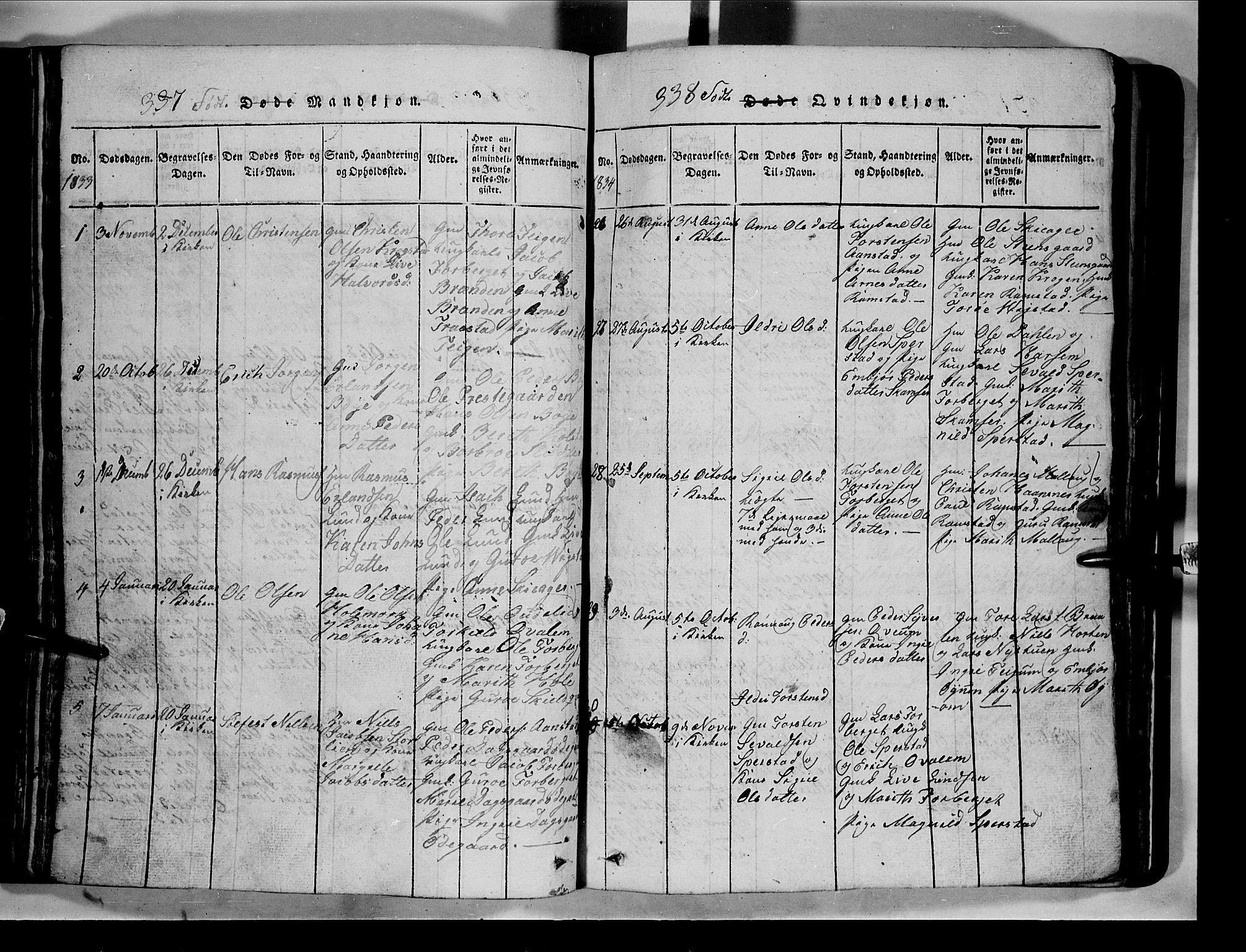 SAH, Lom prestekontor, L/L0003: Klokkerbok nr. 3, 1815-1844, s. 337-338