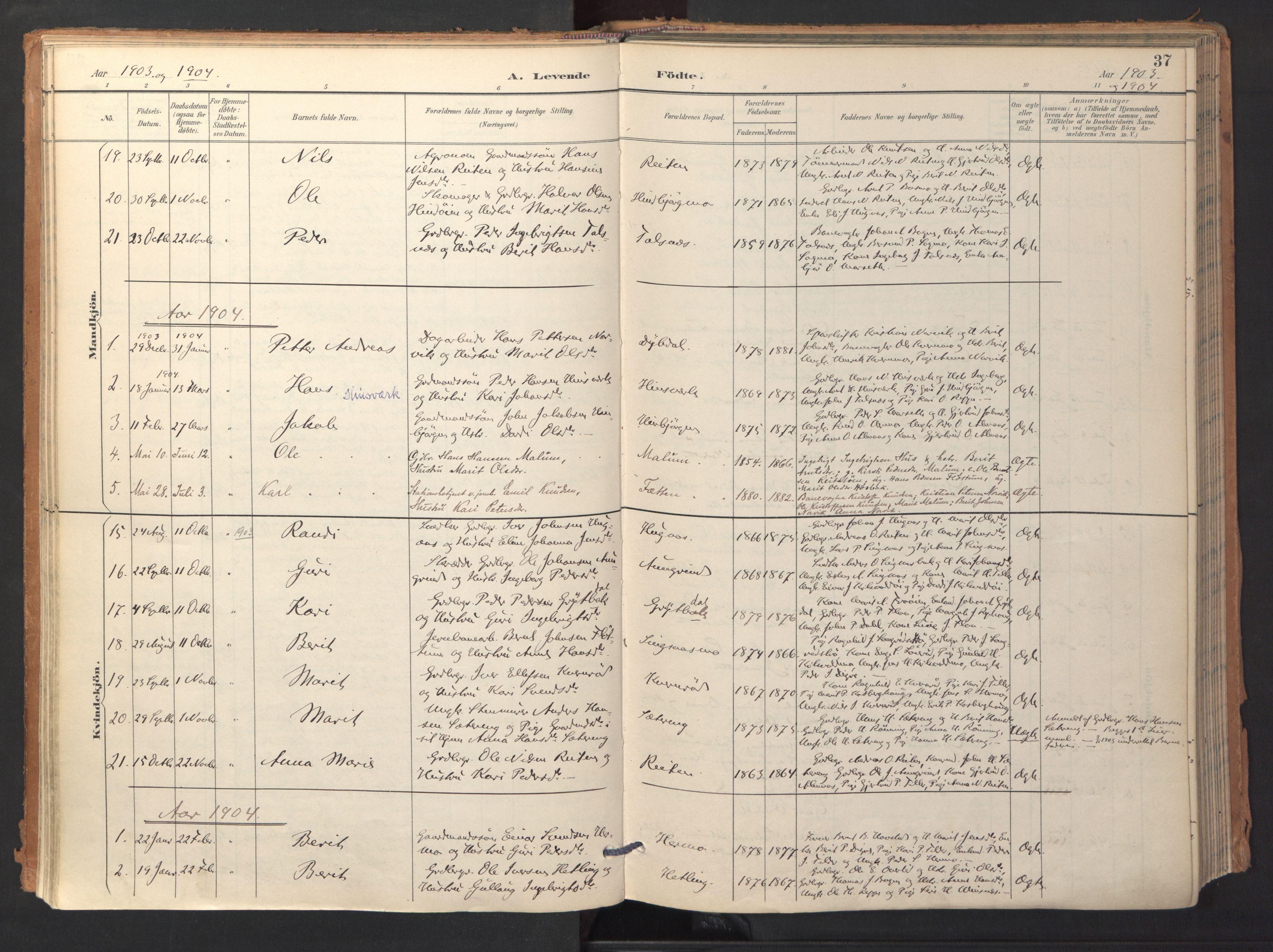 SAT, Ministerialprotokoller, klokkerbøker og fødselsregistre - Sør-Trøndelag, 688/L1025: Ministerialbok nr. 688A02, 1891-1909, s. 37