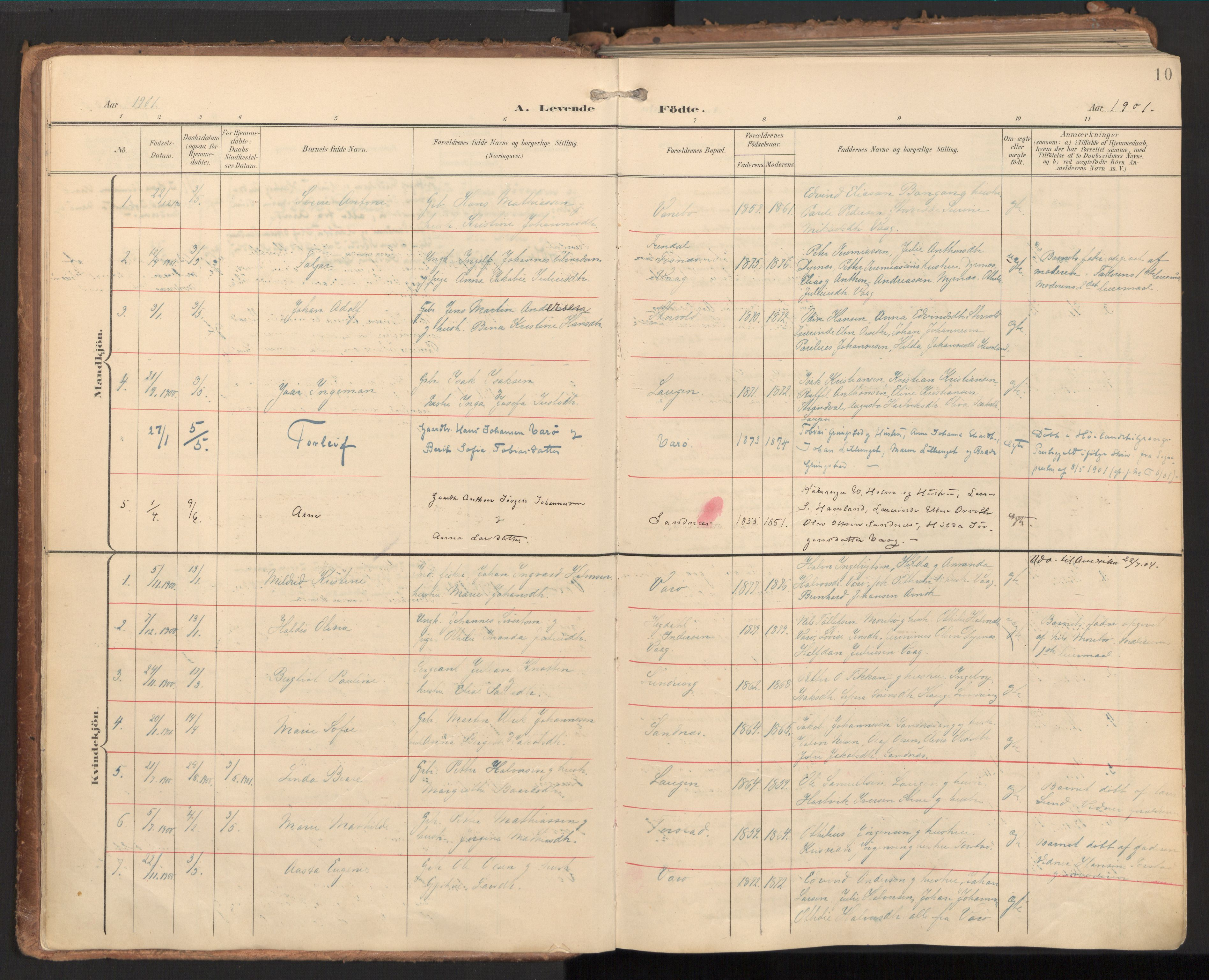 SAT, Ministerialprotokoller, klokkerbøker og fødselsregistre - Nord-Trøndelag, 784/L0677: Ministerialbok nr. 784A12, 1900-1920, s. 10