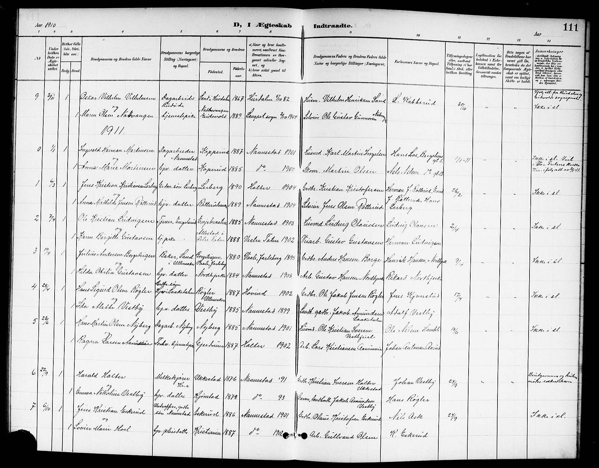 SAO, Nannestad prestekontor Kirkebøker, G/Ga/L0002: Klokkerbok nr. I 2, 1901-1913, s. 111