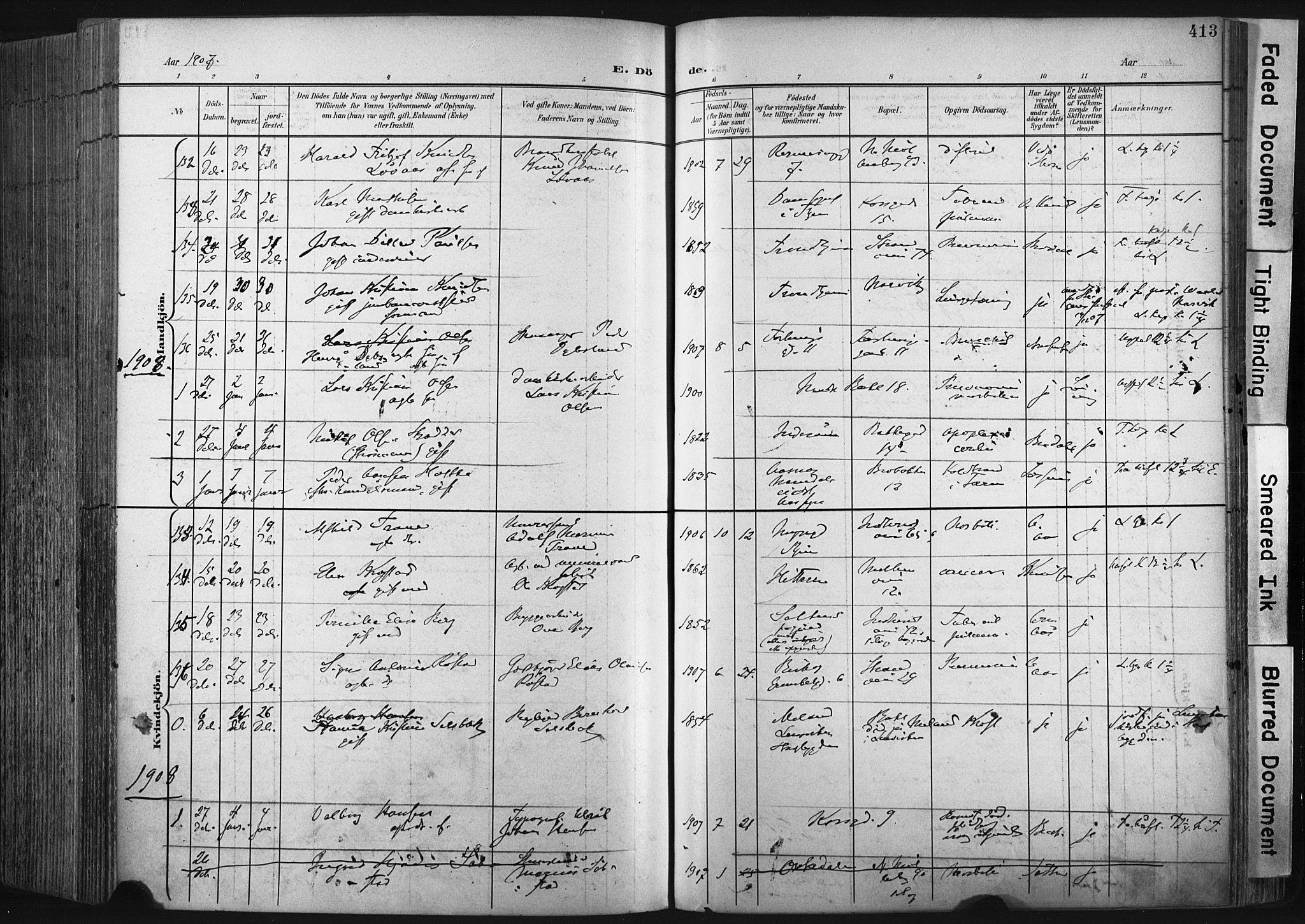 SAT, Ministerialprotokoller, klokkerbøker og fødselsregistre - Sør-Trøndelag, 604/L0201: Ministerialbok nr. 604A21, 1901-1911, s. 413