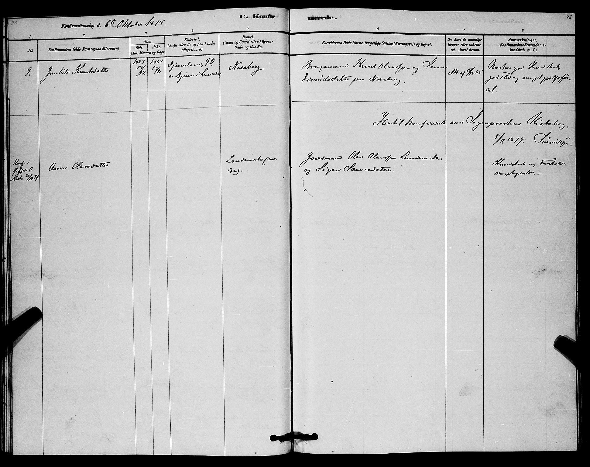 SAKO, Lårdal kirkebøker, G/Gc/L0003: Klokkerbok nr. III 3, 1878-1890, s. 42
