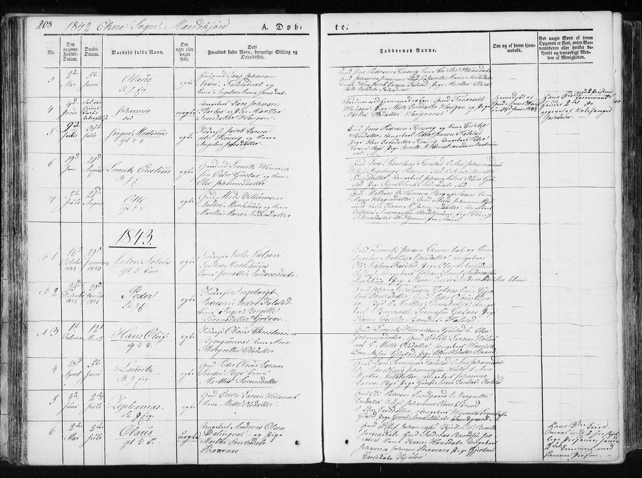 SAT, Ministerialprotokoller, klokkerbøker og fødselsregistre - Nord-Trøndelag, 717/L0154: Ministerialbok nr. 717A06 /2, 1836-1849, s. 208