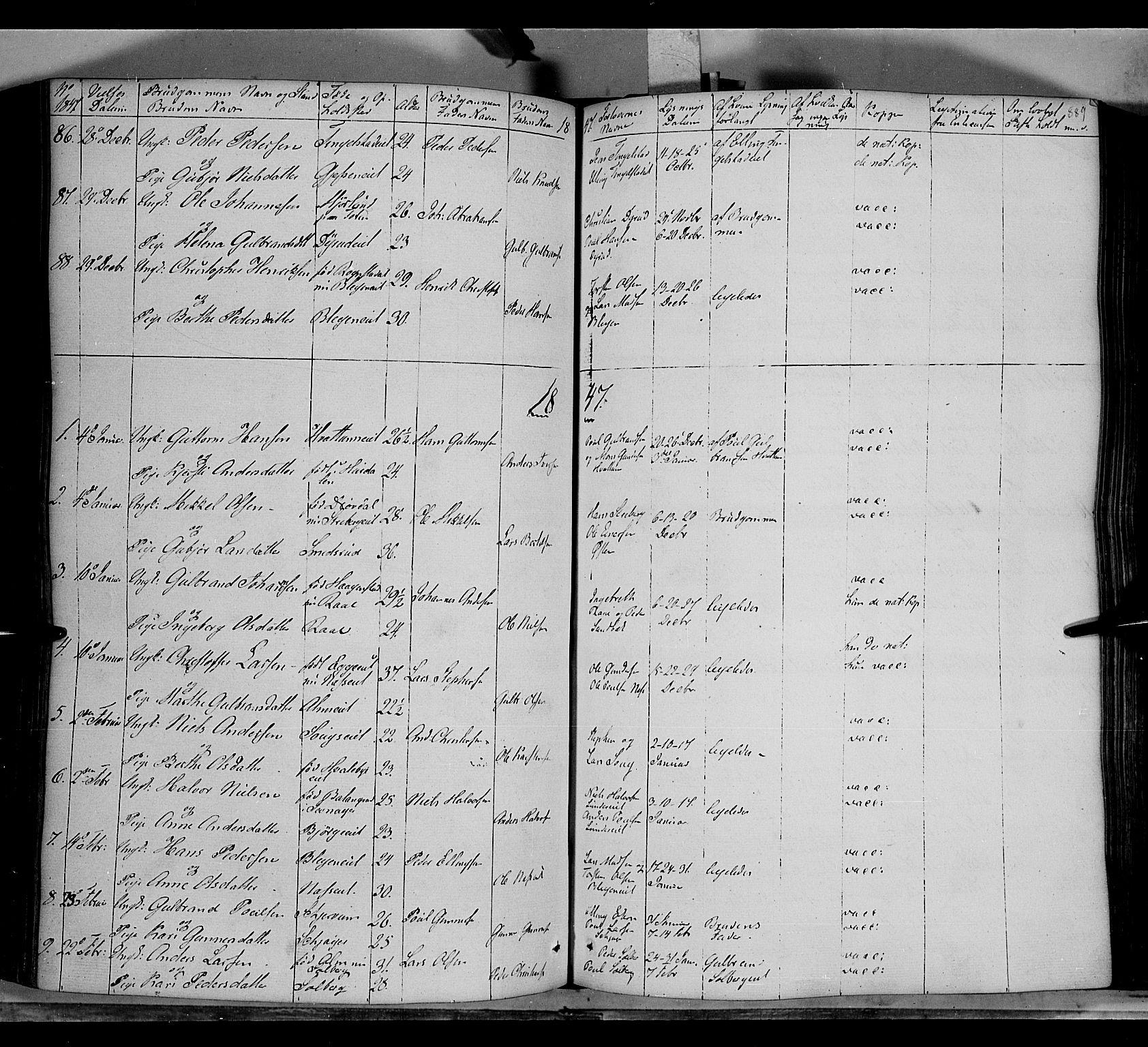 SAH, Gran prestekontor, Ministerialbok nr. 11, 1842-1856, s. 888-889