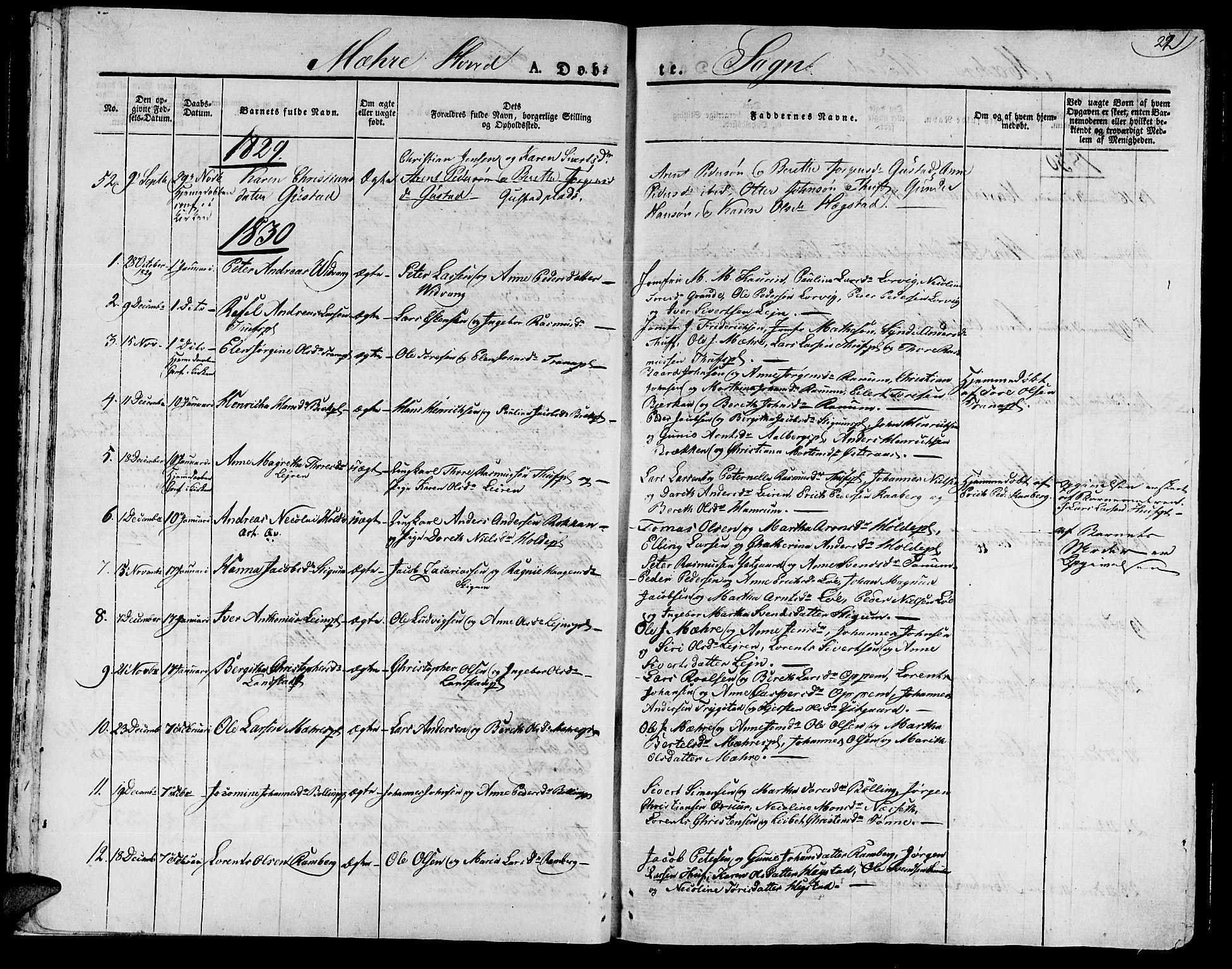 SAT, Ministerialprotokoller, klokkerbøker og fødselsregistre - Nord-Trøndelag, 735/L0336: Ministerialbok nr. 735A05 /1, 1825-1835, s. 22