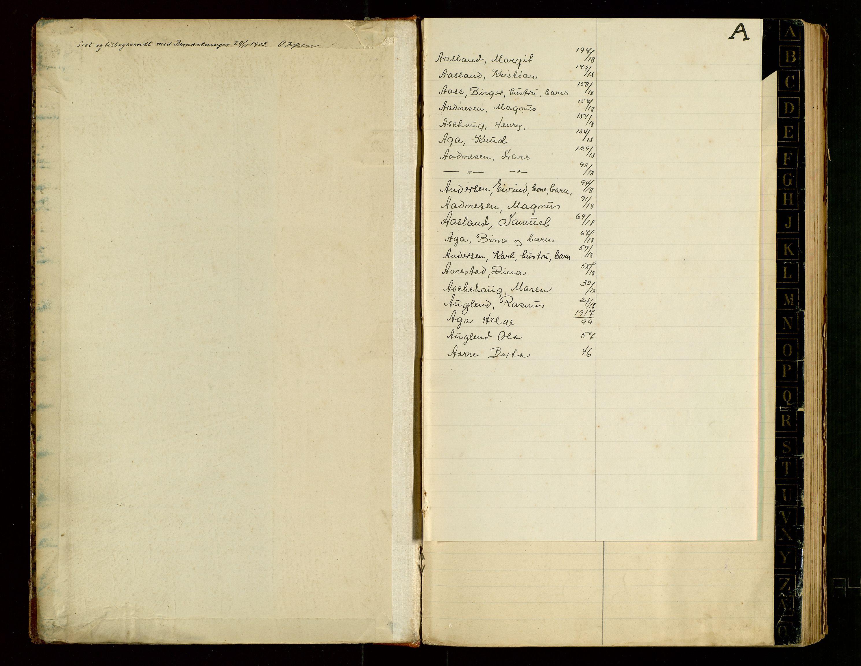 """SAST, Time lensmannskontor, Gw/L0001: """"Fortegnelse over ind- og udflyttede"""", 1901-1918, s. 2"""