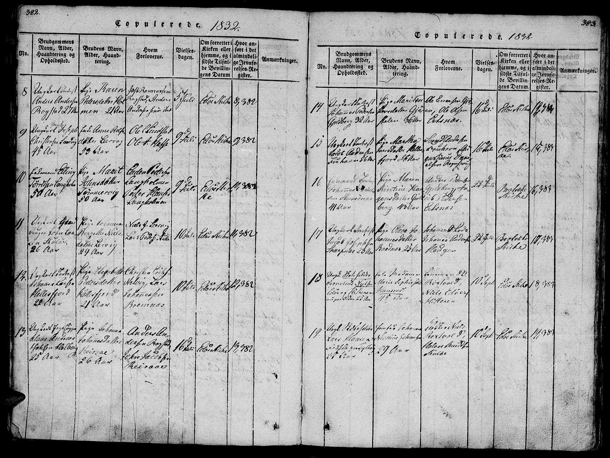 SAT, Ministerialprotokoller, klokkerbøker og fødselsregistre - Møre og Romsdal, 581/L0933: Ministerialbok nr. 581A03 /1, 1819-1836, s. 382-383