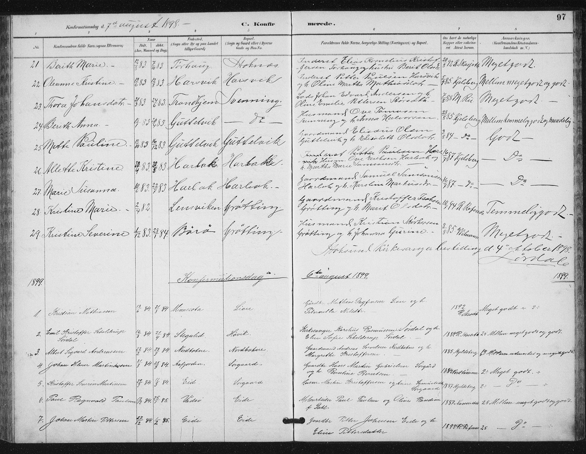 SAT, Ministerialprotokoller, klokkerbøker og fødselsregistre - Sør-Trøndelag, 656/L0698: Klokkerbok nr. 656C04, 1890-1904, s. 97