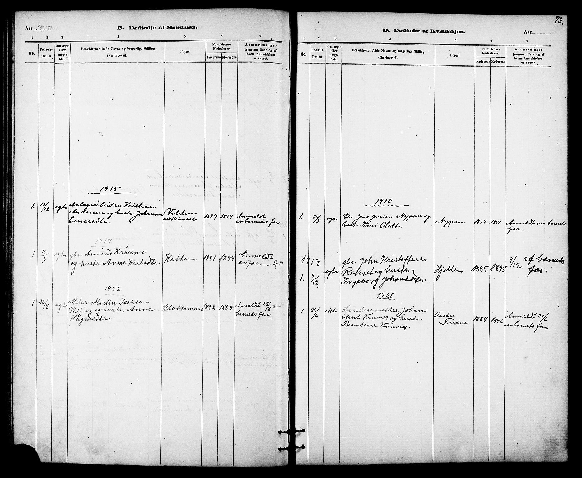 SAT, Ministerialprotokoller, klokkerbøker og fødselsregistre - Sør-Trøndelag, 613/L0395: Klokkerbok nr. 613C03, 1887-1909, s. 73