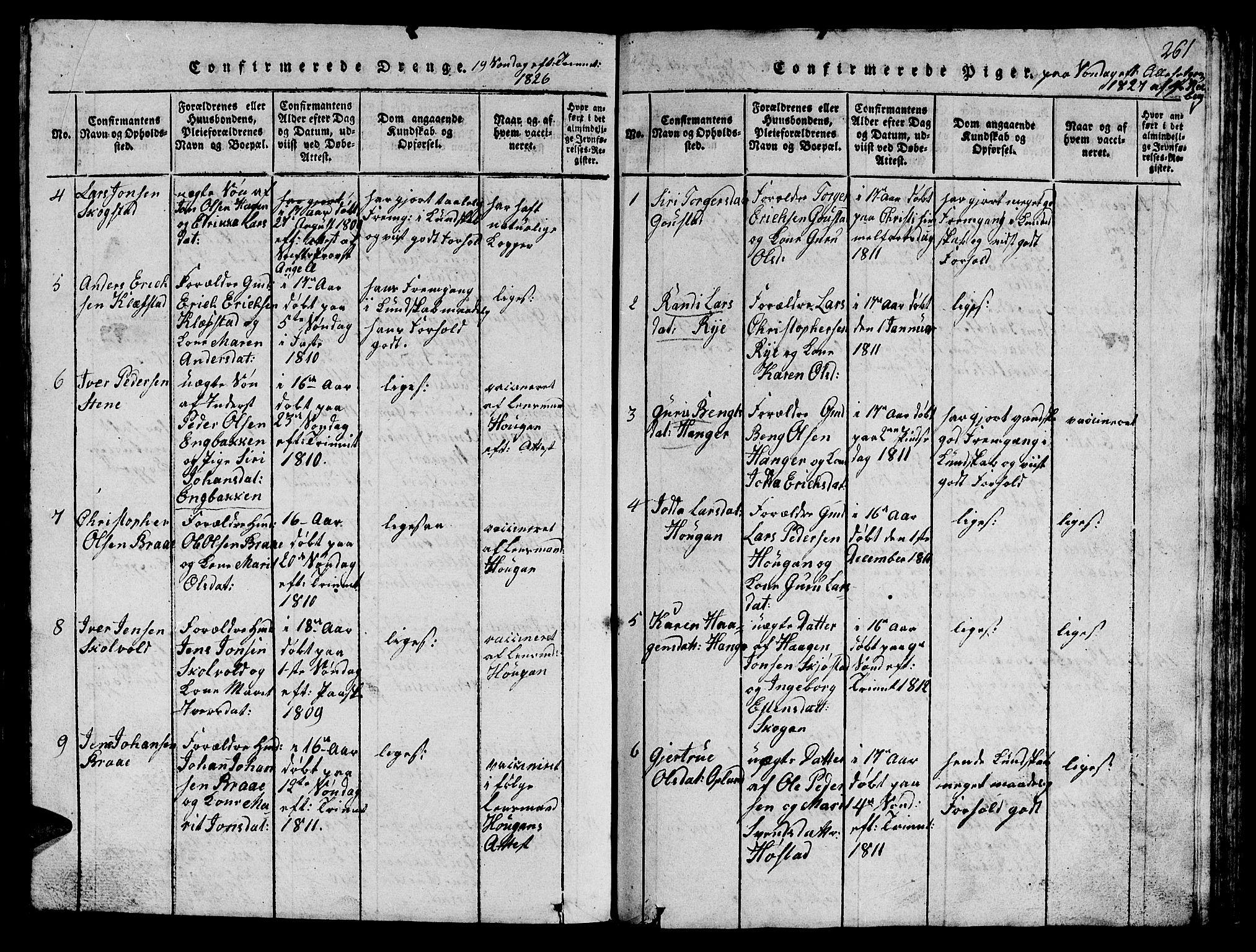 SAT, Ministerialprotokoller, klokkerbøker og fødselsregistre - Sør-Trøndelag, 612/L0385: Klokkerbok nr. 612C01, 1816-1845, s. 261
