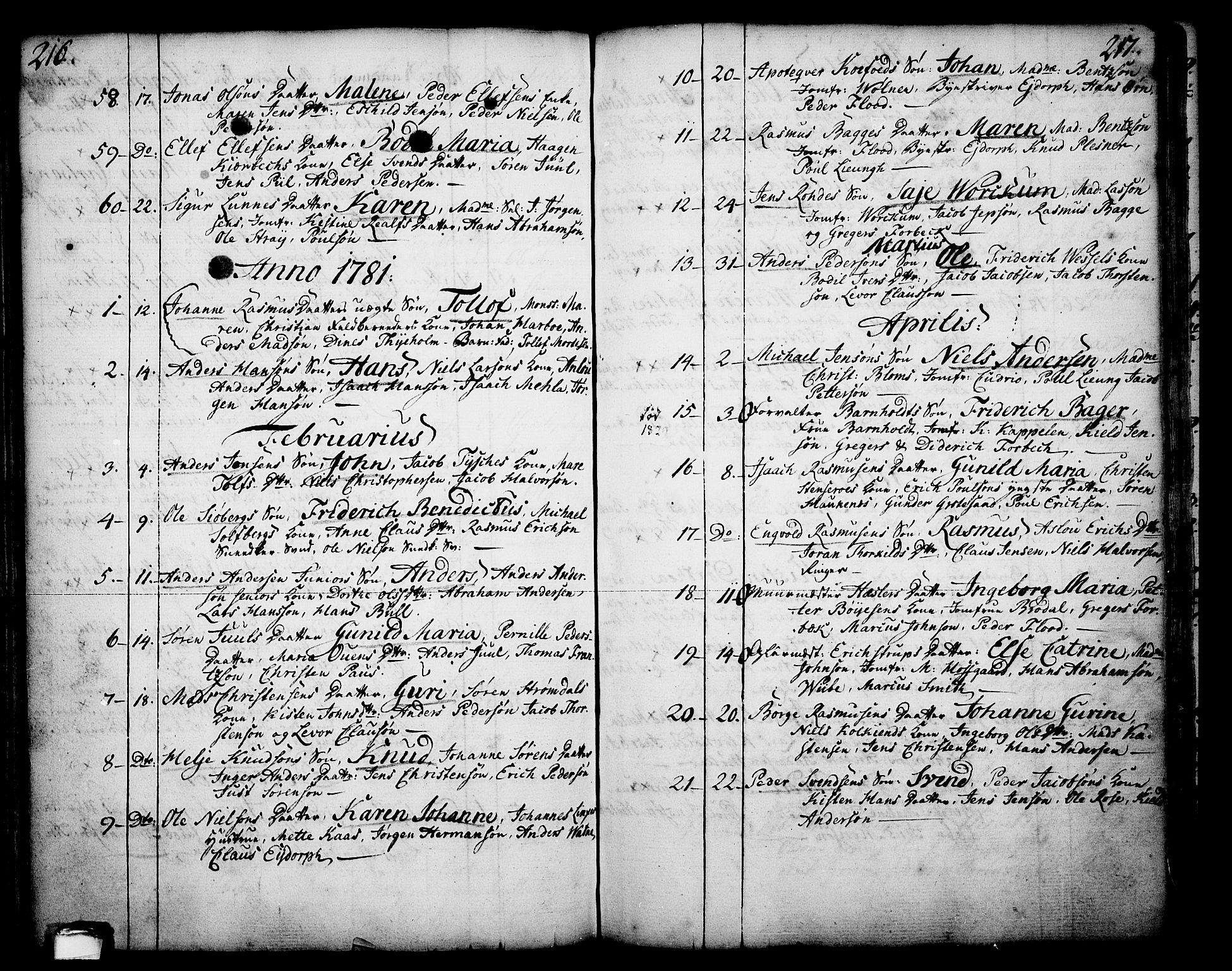 SAKO, Skien kirkebøker, F/Fa/L0003: Ministerialbok nr. 3, 1755-1791, s. 216-217