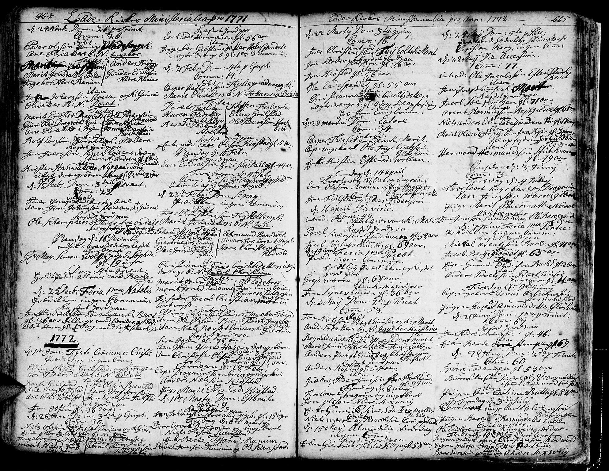 SAT, Ministerialprotokoller, klokkerbøker og fødselsregistre - Sør-Trøndelag, 606/L0275: Ministerialbok nr. 606A01 /1, 1727-1780, s. 664-665