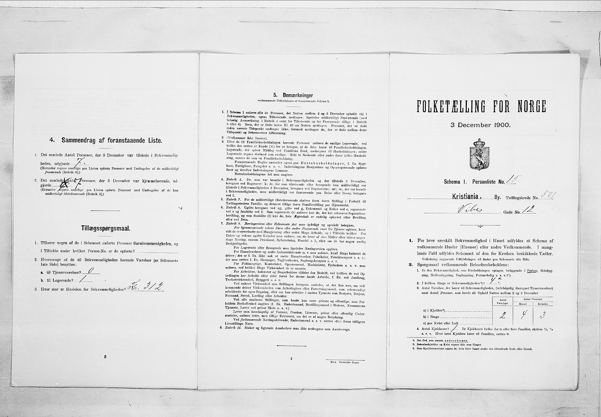 SAO, Folketelling 1900 for 0301 Kristiania kjøpstad, 1900, s. 112076