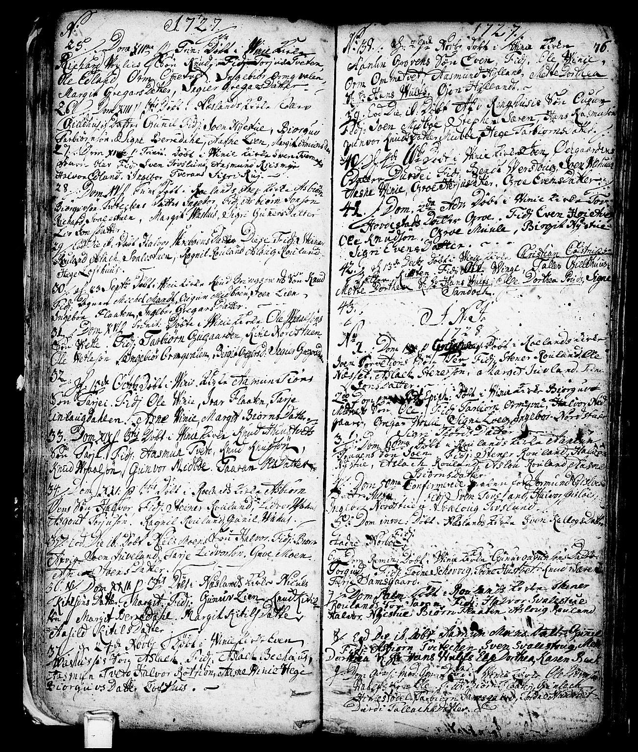 SAKO, Vinje kirkebøker, F/Fa/L0001: Ministerialbok nr. I 1, 1717-1766, s. 76