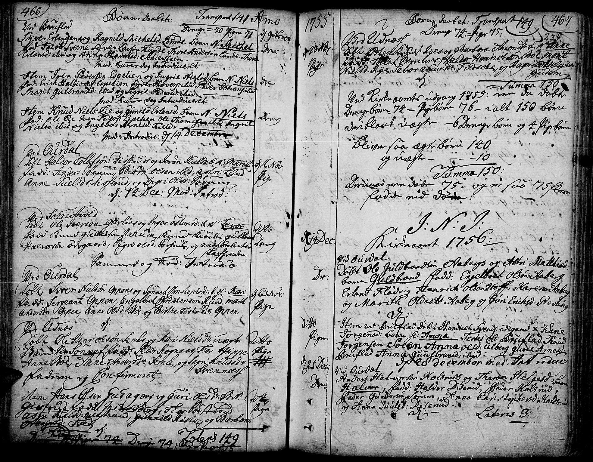 SAH, Aurdal prestekontor, Ministerialbok nr. 4, 1730-1762, s. 466-467