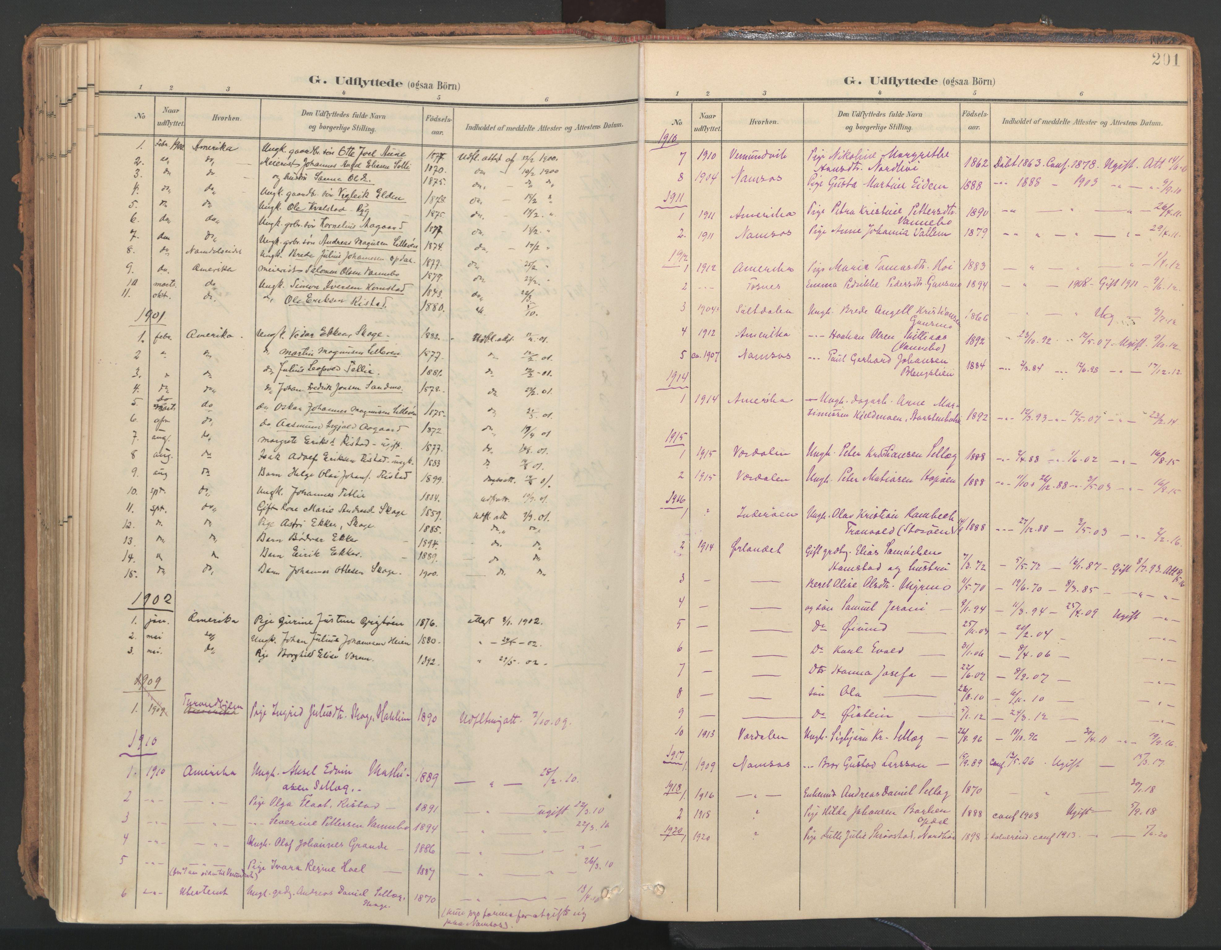 SAT, Ministerialprotokoller, klokkerbøker og fødselsregistre - Nord-Trøndelag, 766/L0564: Ministerialbok nr. 767A02, 1900-1932, s. 201