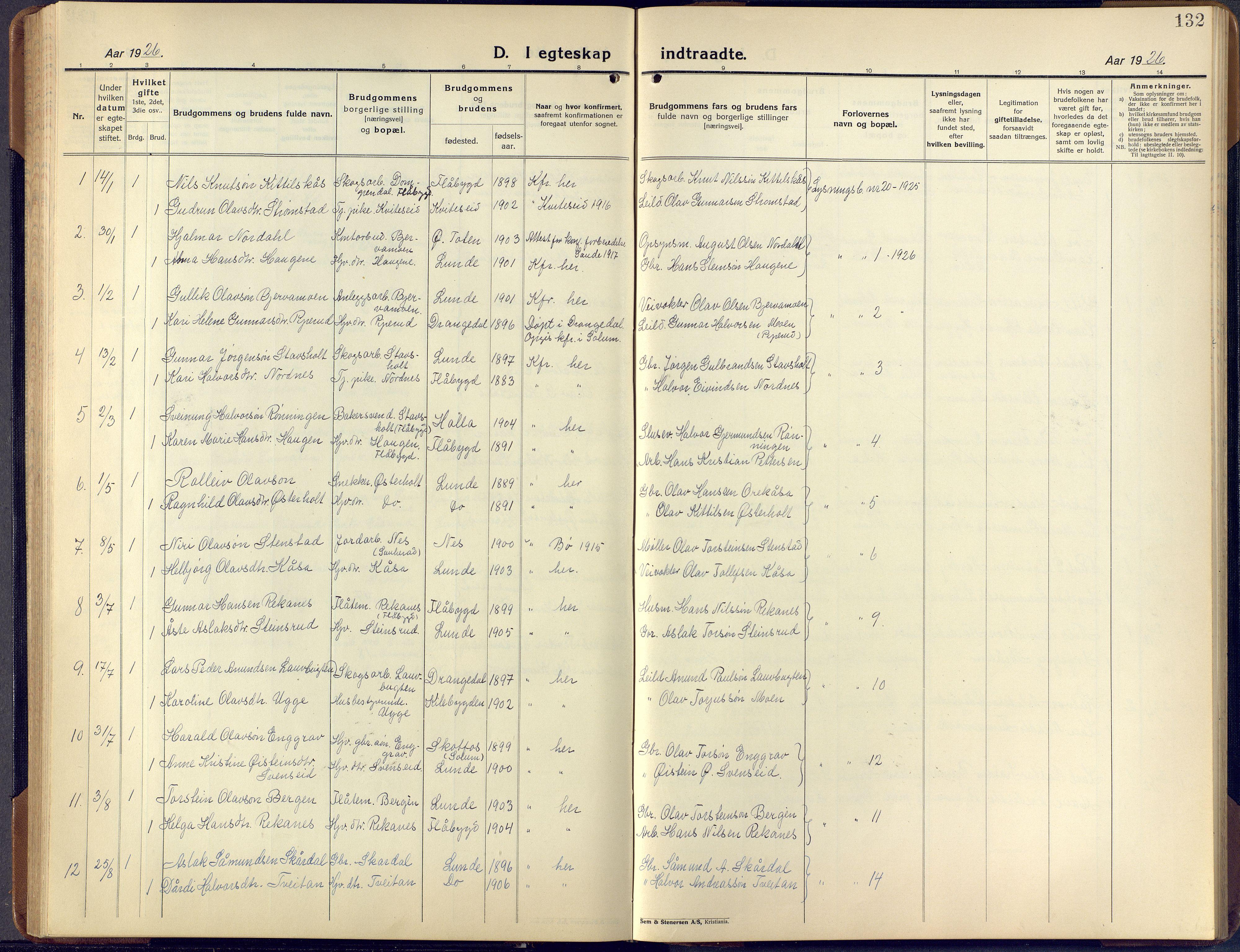 SAKO, Lunde kirkebøker, F/Fa/L0006: Ministerialbok nr. I 6, 1922-1940, s. 132