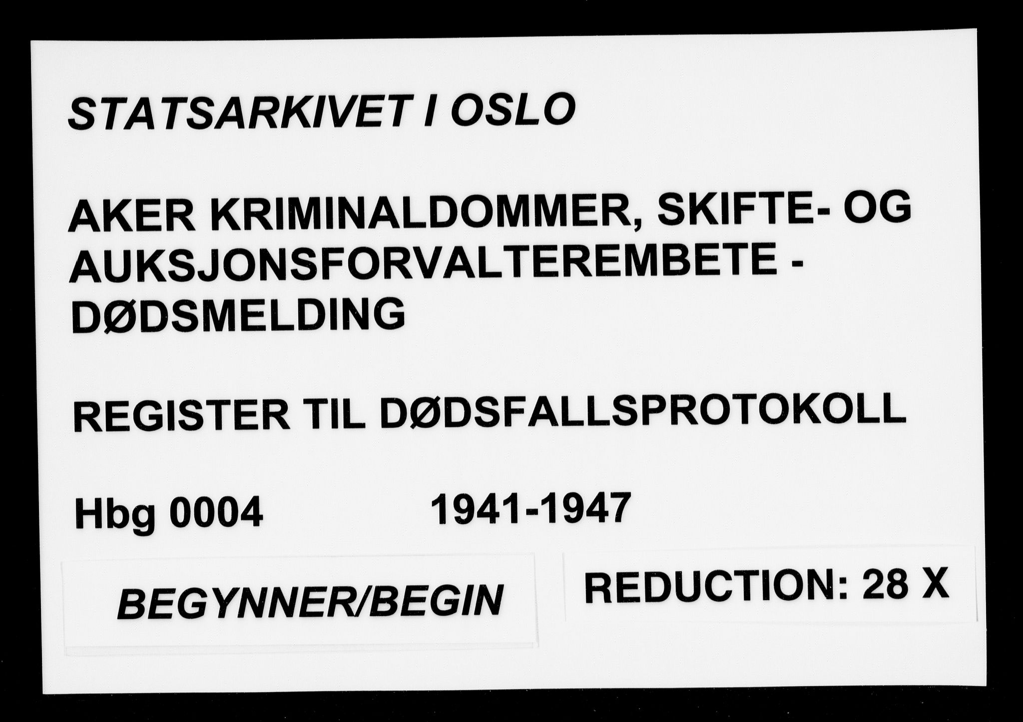 SAO, Aker kriminaldommer, skifte- og auksjonsforvalterembete, H/Ha/Haa/L0004: Register til dødsfallsprotokoll, 1941-1947, s. upaginert