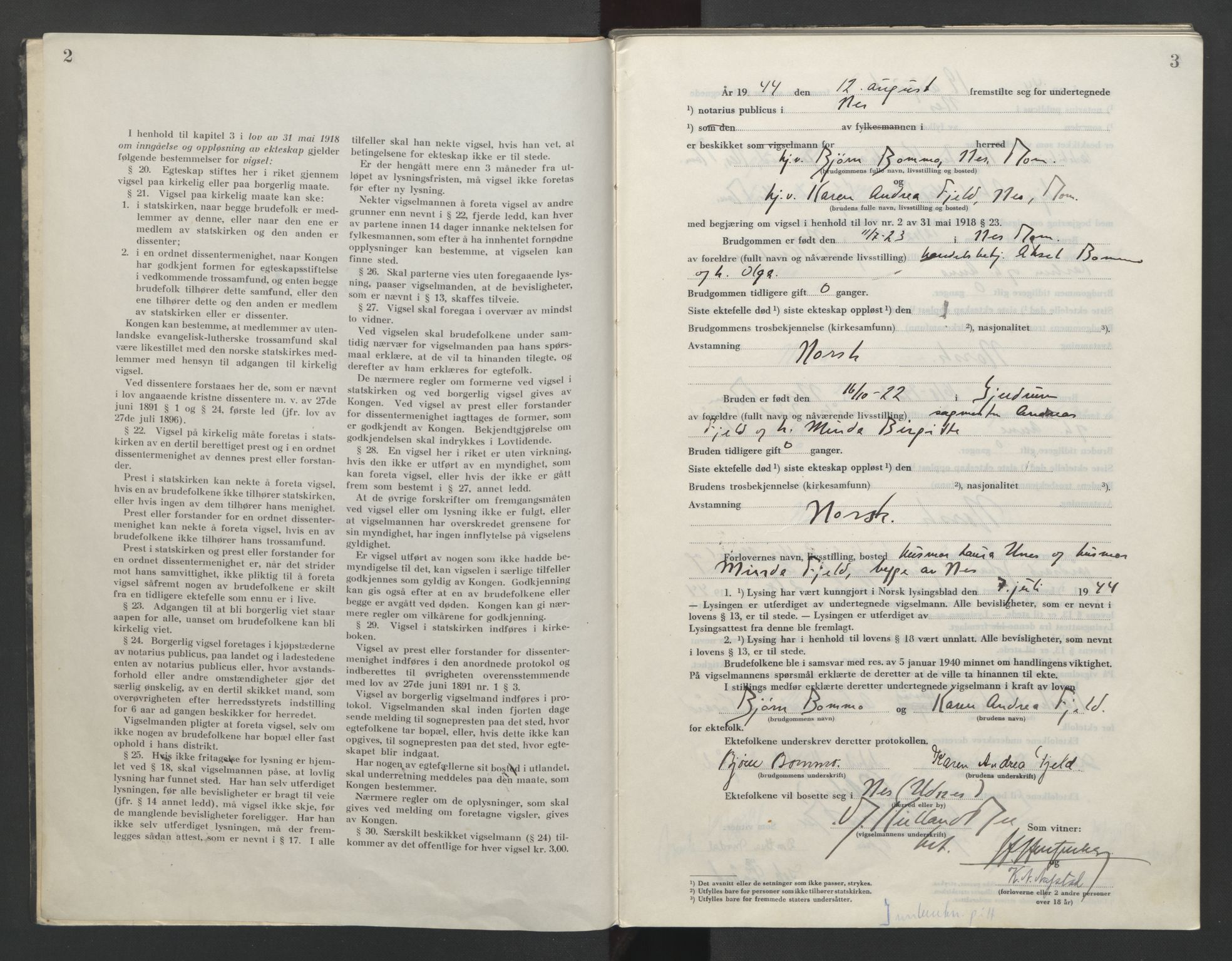 SAO, Nes tingrett, L/Lc/Lca/L0003: Vigselbok, 1944-1953, s. 2-3