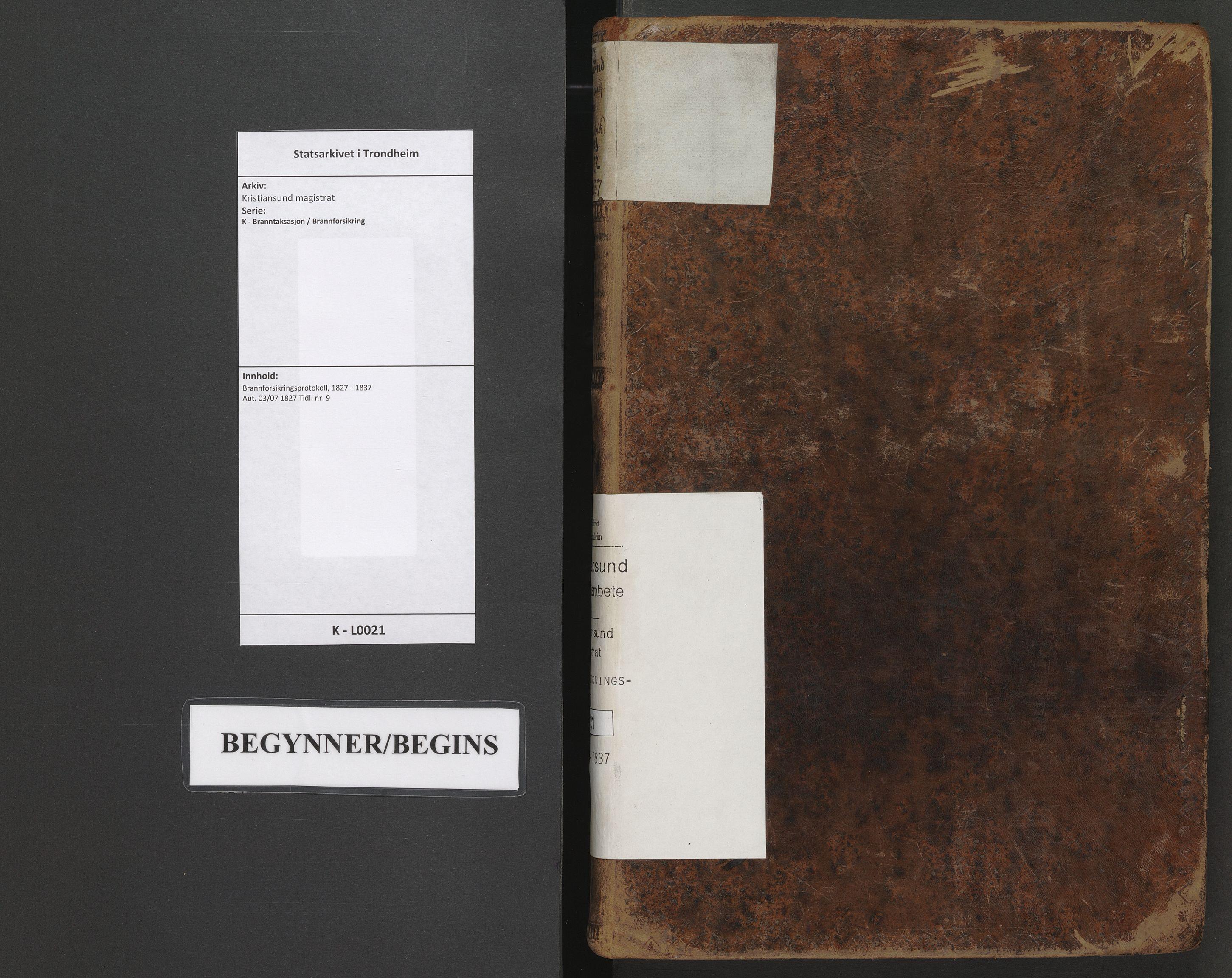 SAT, Kristiansund magistrat, K/L0021: Brannforsikringsprotokoll, 1827-1837