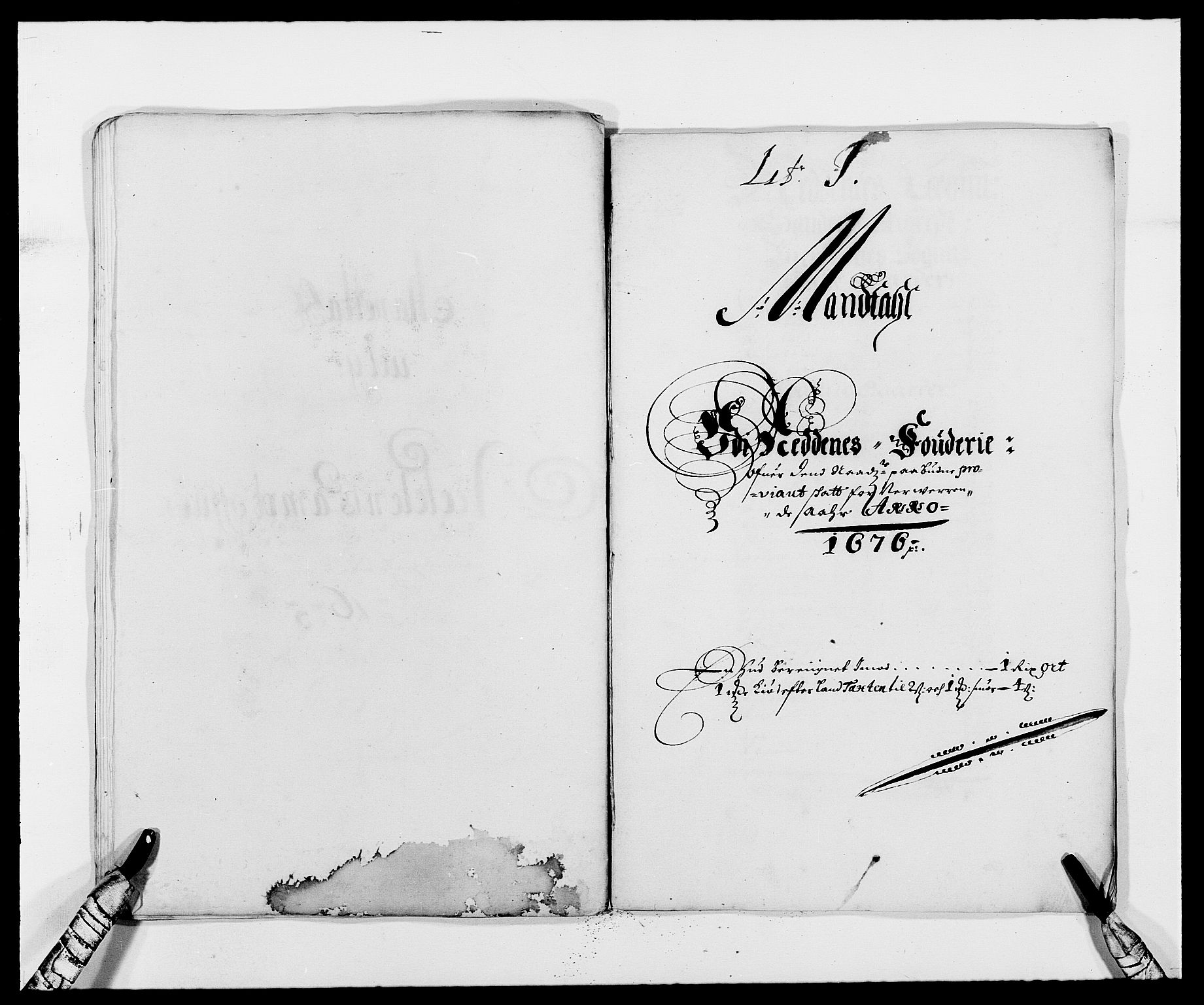 RA, Rentekammeret inntil 1814, Reviderte regnskaper, Fogderegnskap, R39/L2301: Fogderegnskap Nedenes, 1675-1676, s. 322
