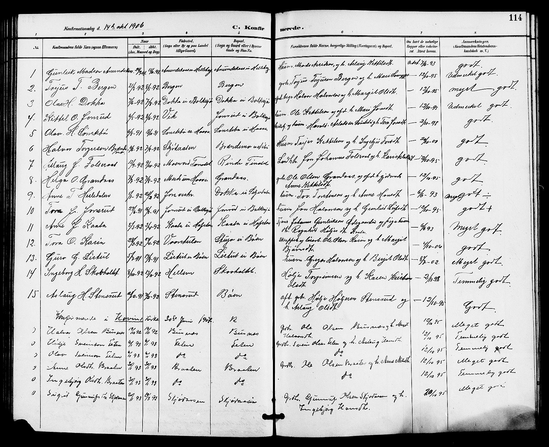 SAKO, Gransherad kirkebøker, G/Ga/L0003: Klokkerbok nr. I 3, 1887-1915, s. 114