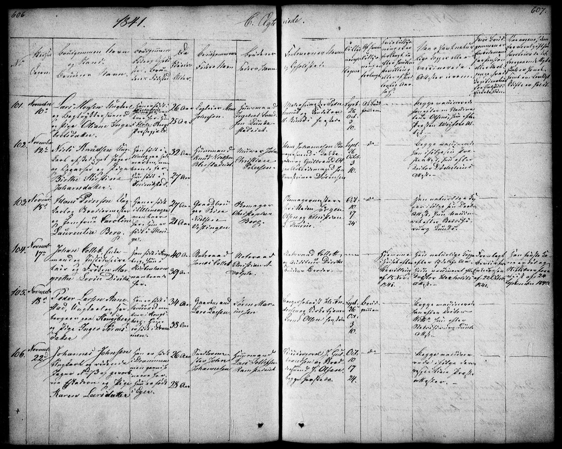 SAO, Oslo domkirke Kirkebøker, F/Fa/L0019: Ministerialbok nr. 19, 1828-1847, s. 606-607